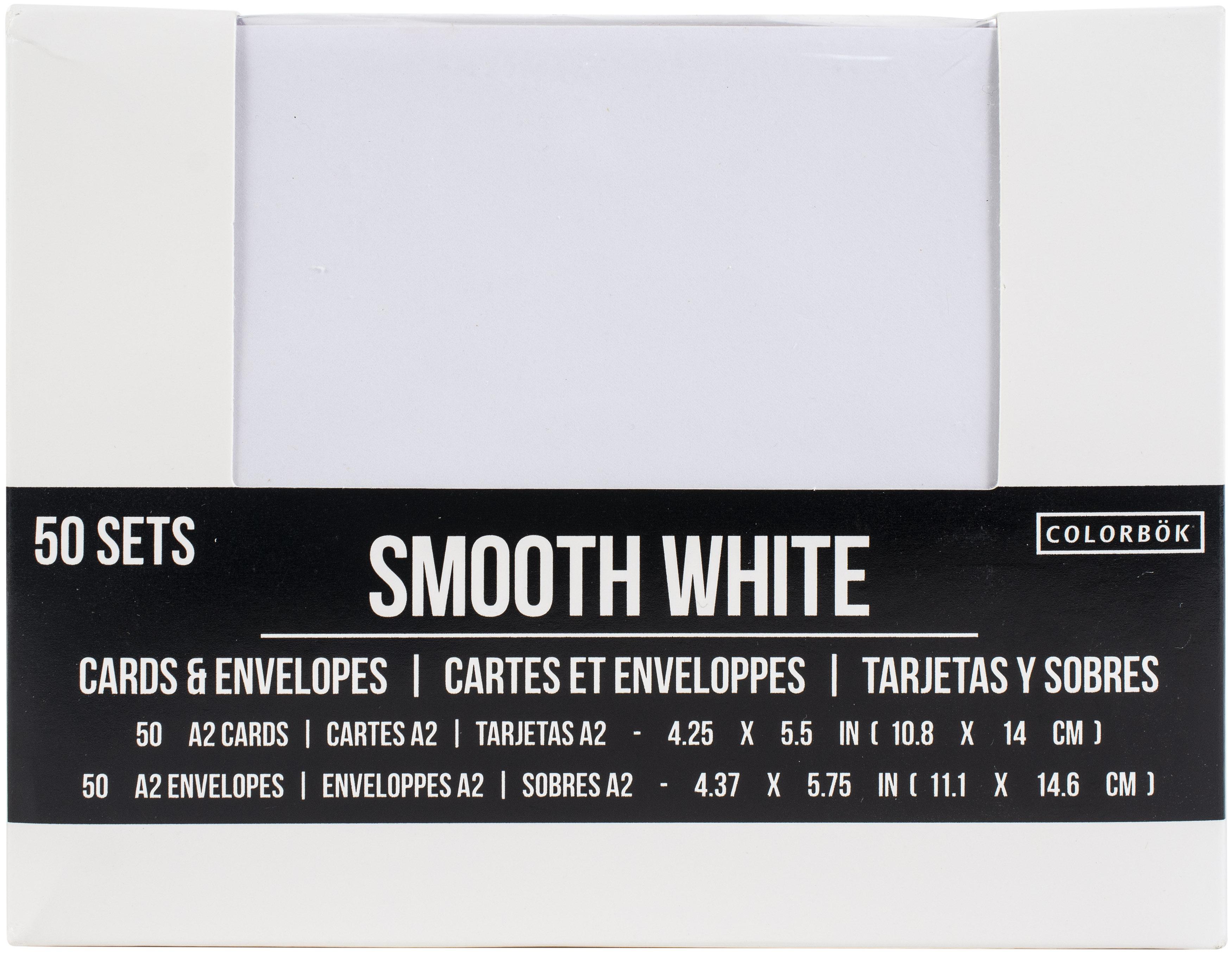 A2 Cards W/Envelopes (4.375X5.75) 50/Pkg-Smooth White