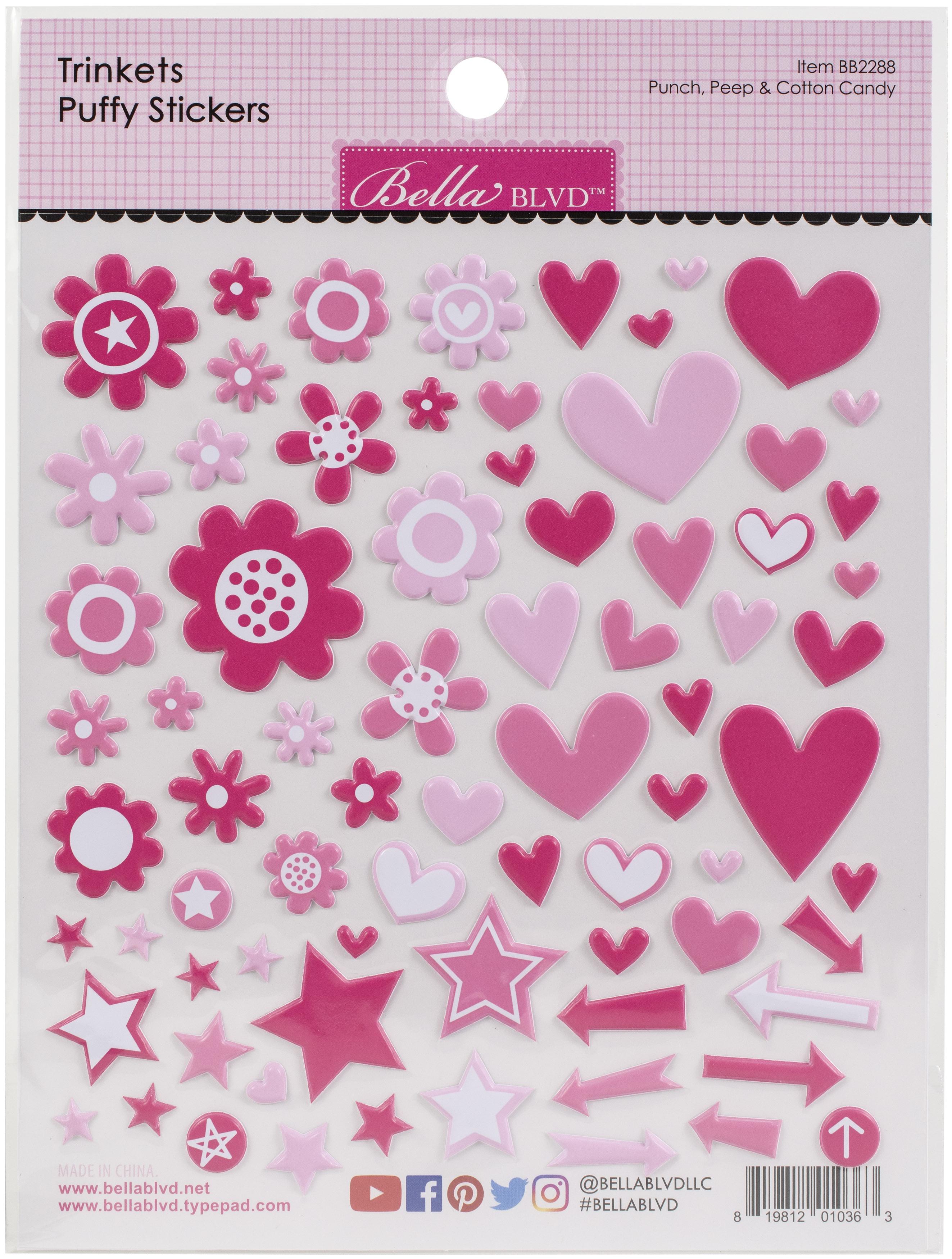 Bella Besties Trinkets Puffy Stickers-Punch, Peep & Cotton Candy