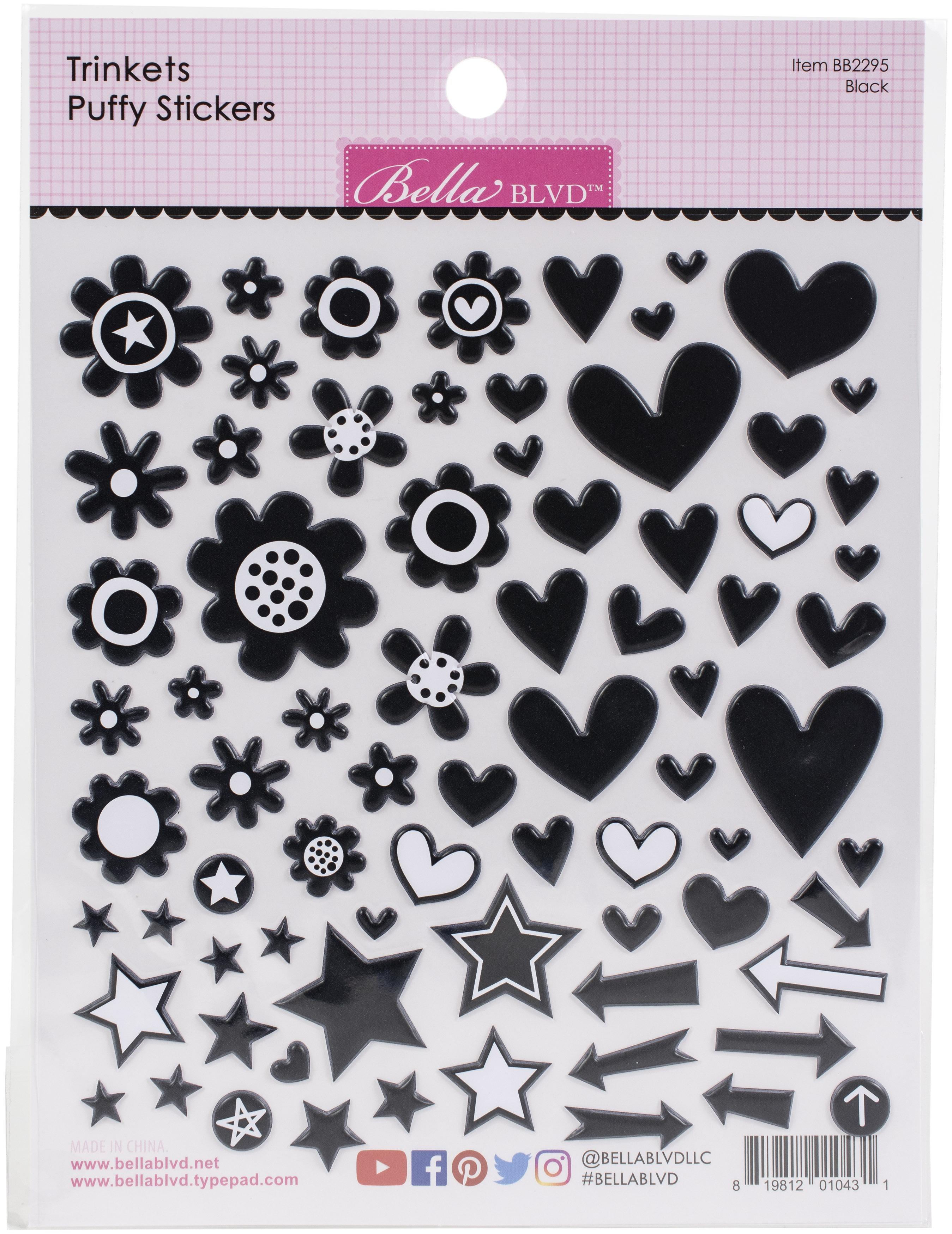 Bella Besties Trinkets Puffy Stickers-Black