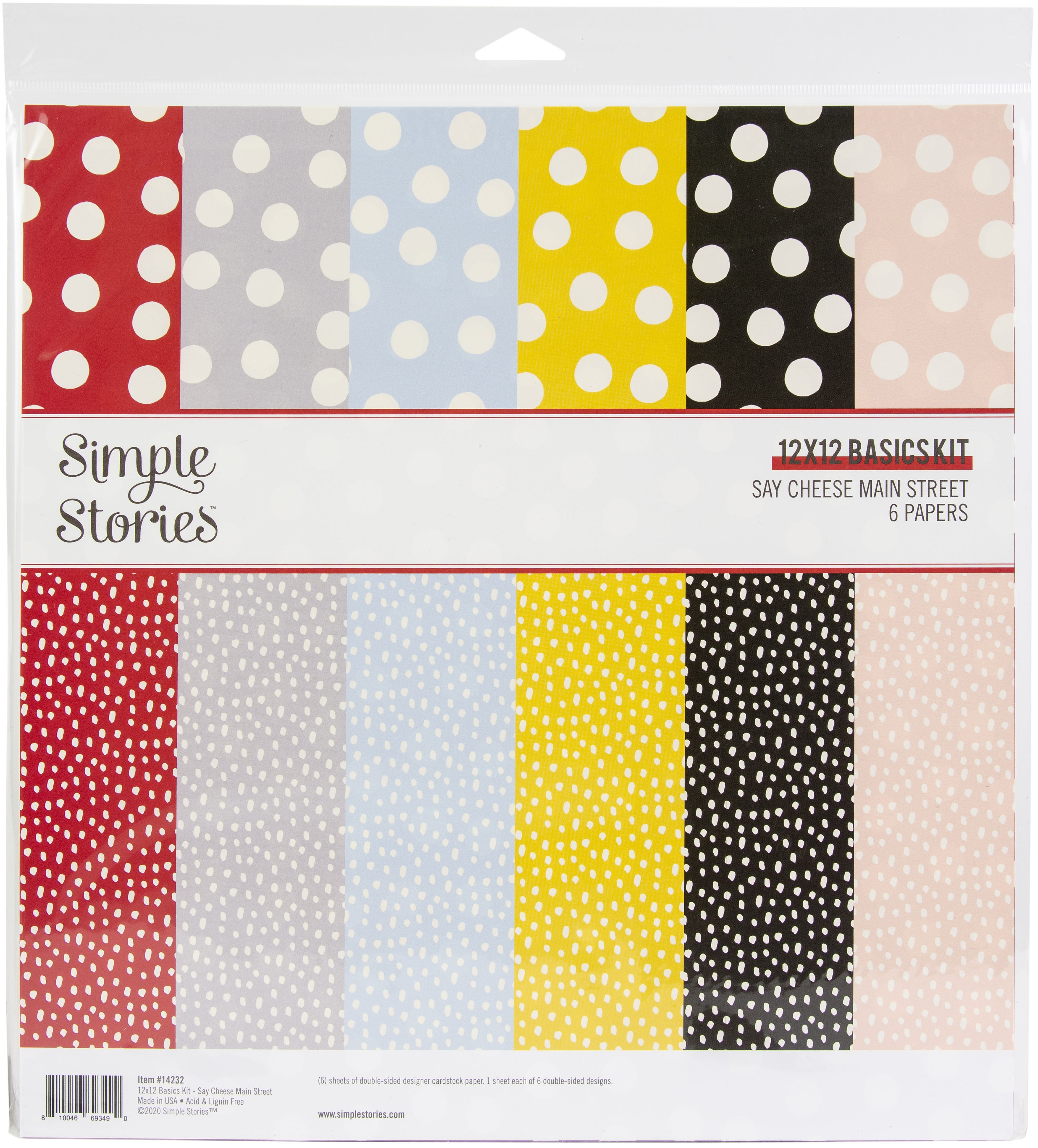 Simple Stories Basics Double-Sided Paper Pack 12X12 6/Pkg-Say Cheese Main Stre...