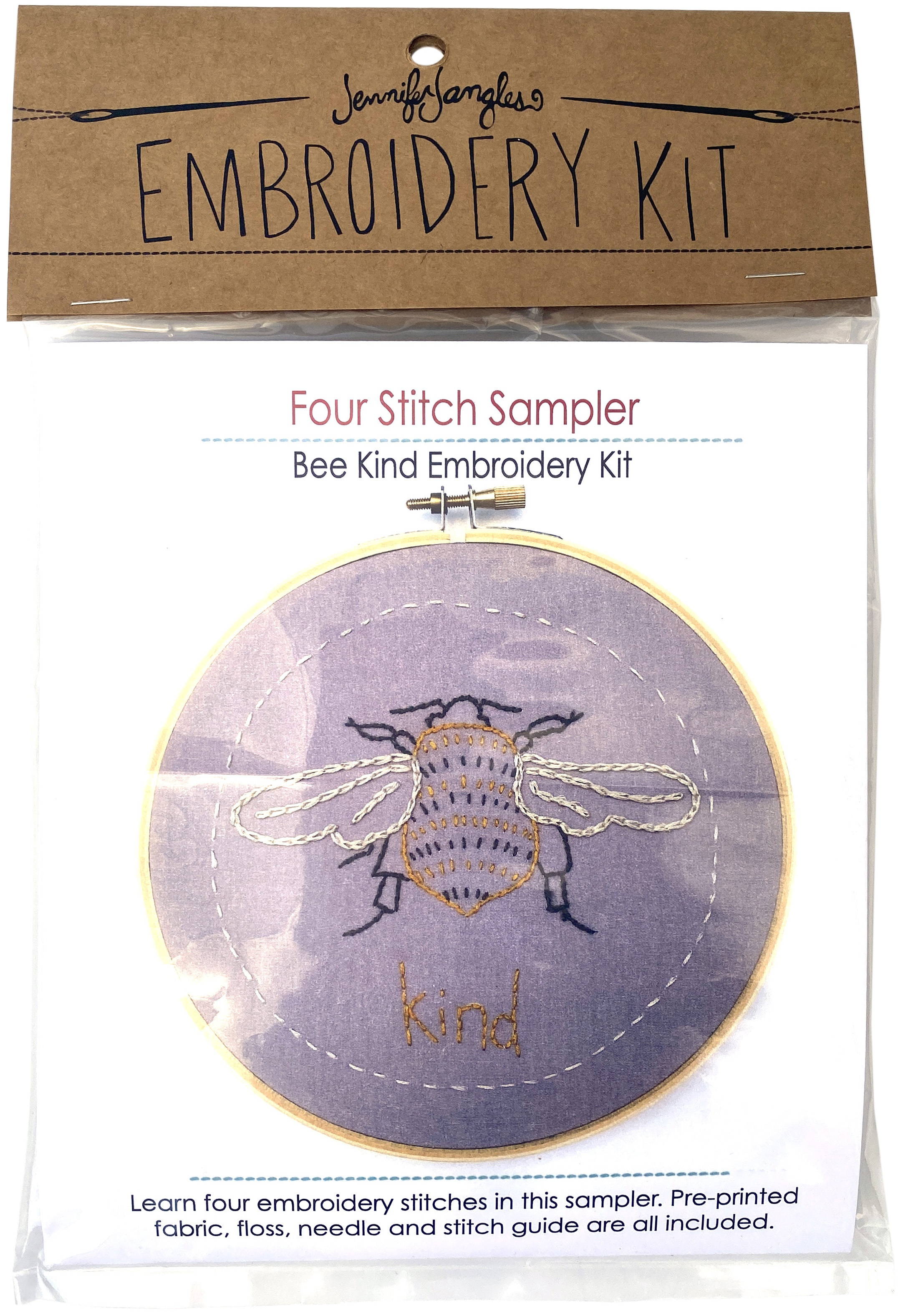 Jennifer Jangles Four Stitch Sampler Embroidery Kit-Bee Kind