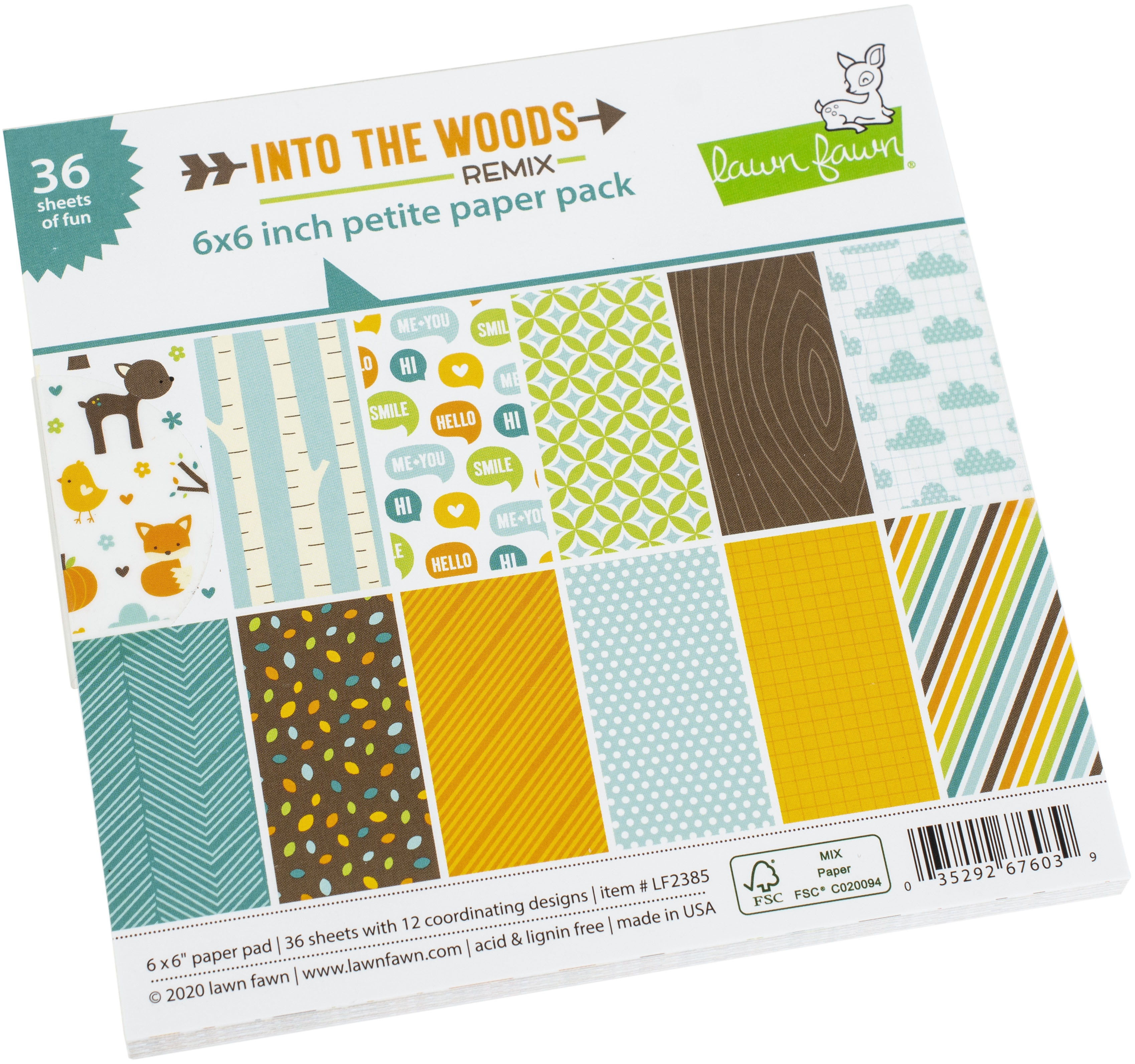 Lawn Fawn Single-Sided Petite Paper Pack 6X6 36/Pkg-Into The Woods Remix, 12 Designs/3 Each
