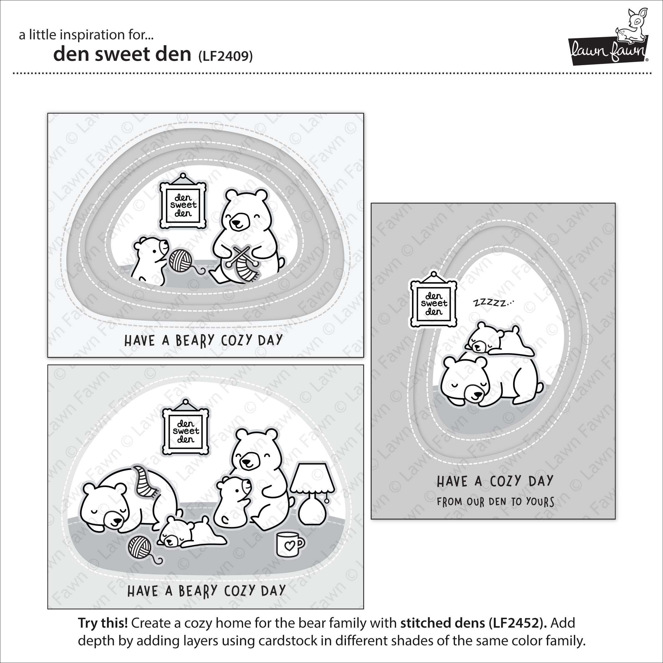 Lawn Fawn Clear Stamps 4X6-Den Sweet Den