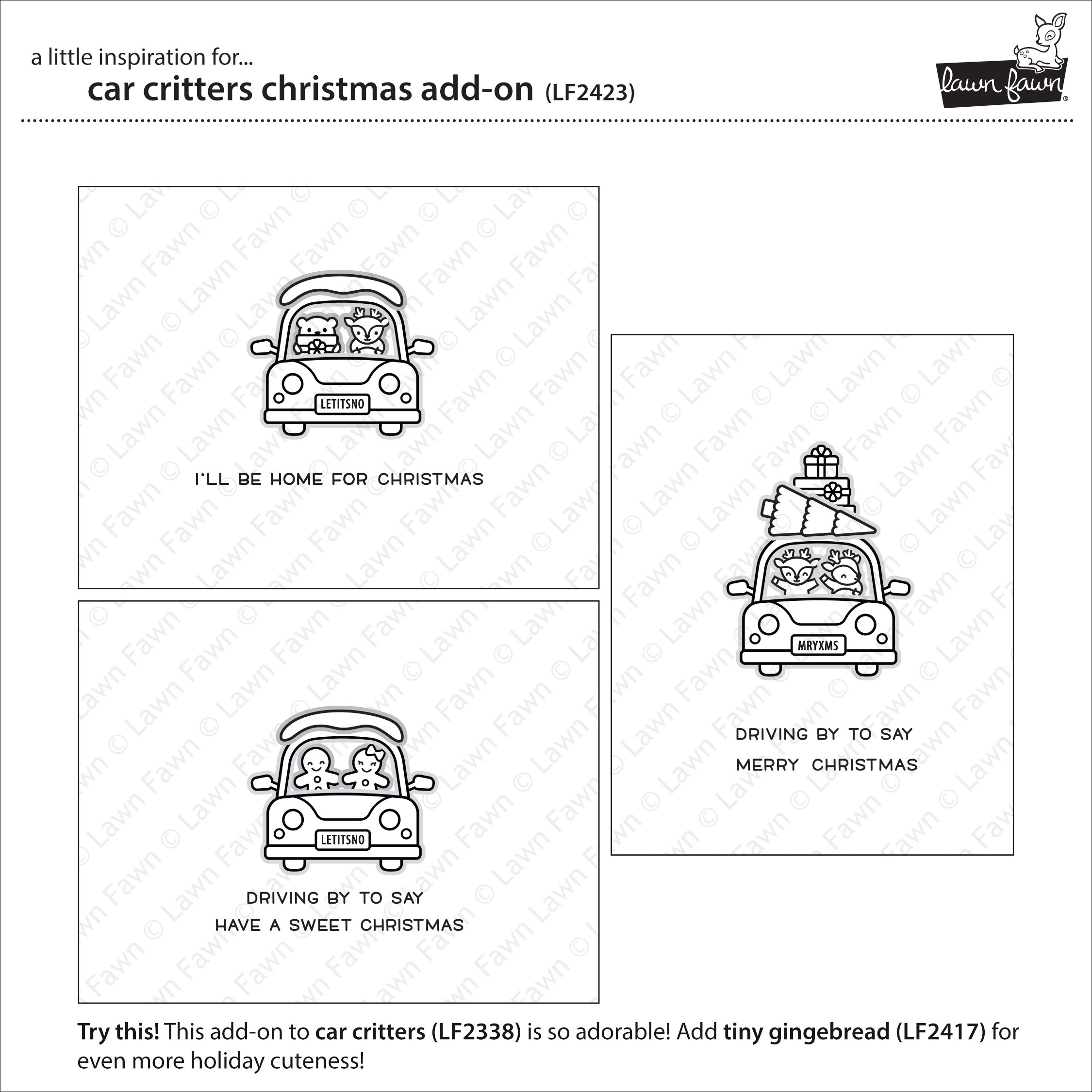 Lawn Fawn Clear Stamps 3X4-Car Critters Christmas Add-On
