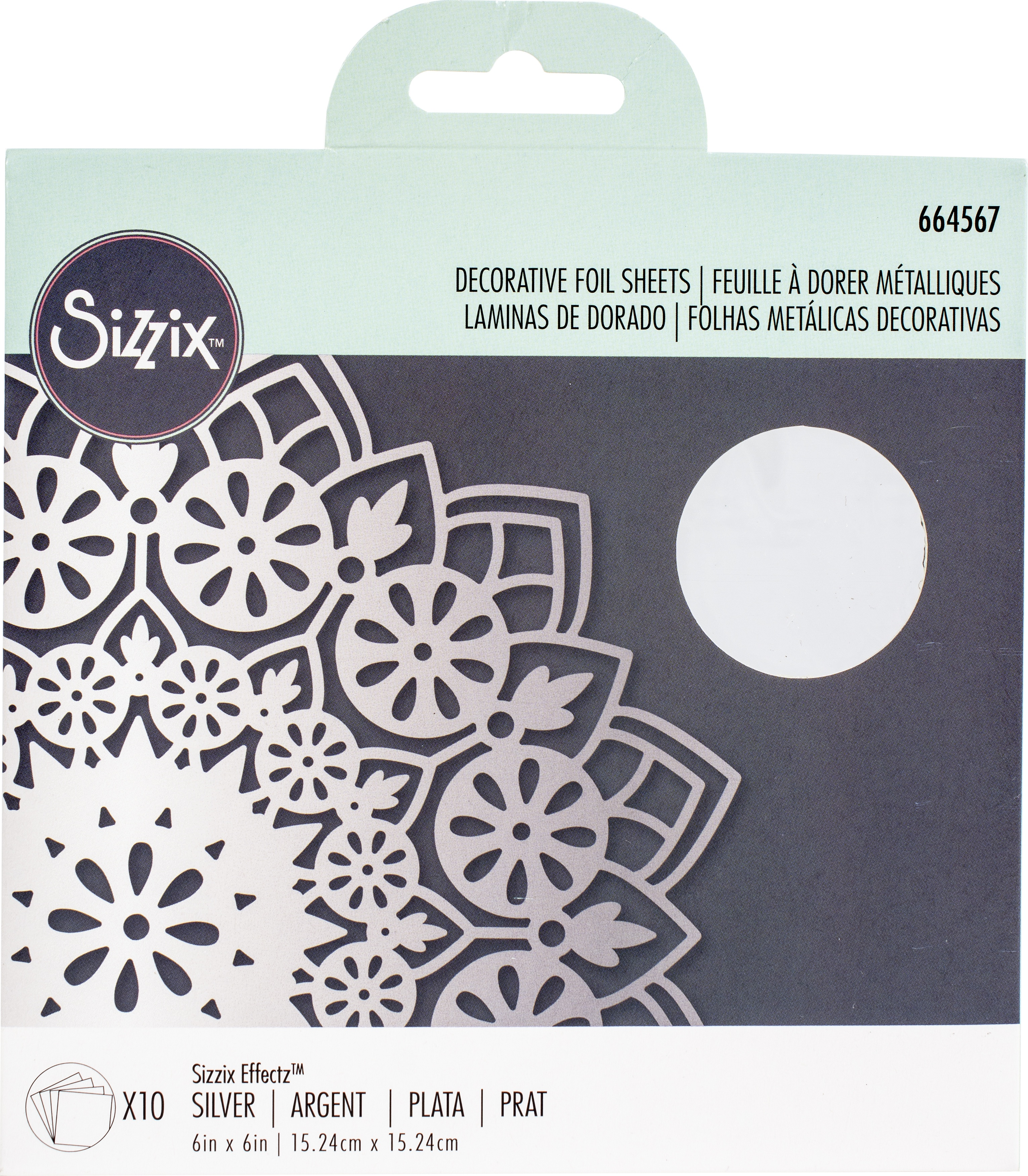 Sizzix - Decorative Foil Sheets - Silver, 10/Pkg