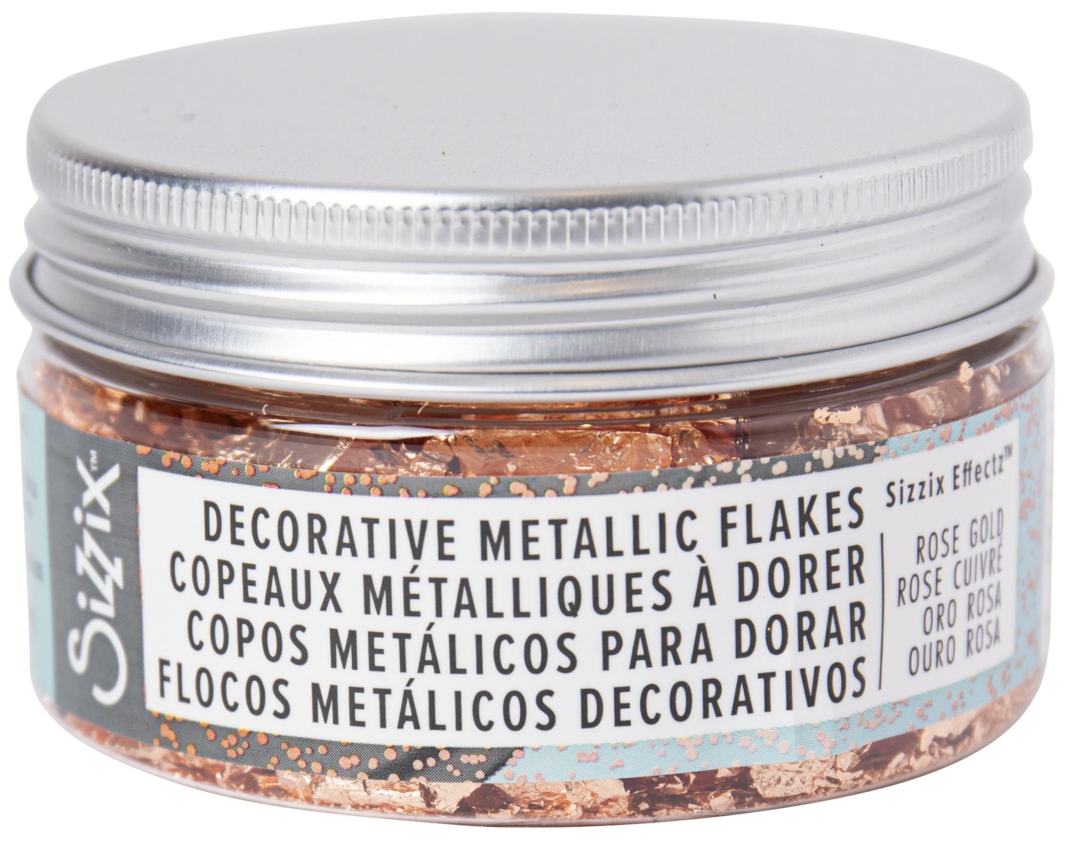 Sizzix Effectz Decorative Metallic Flakes 100ml-Rose Gold