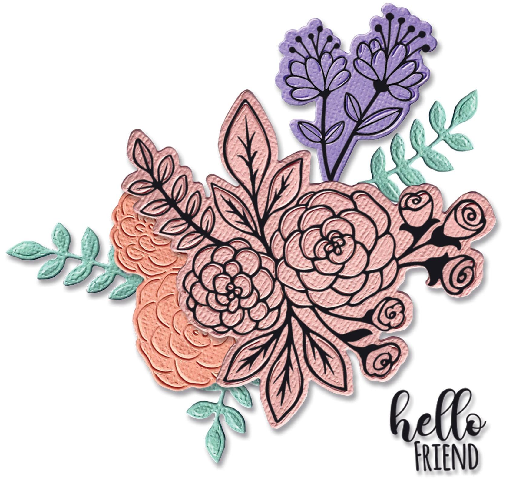Sizzix Framelits Die & Stamp Set By Jen Long 6/Pkg-Floral Bunch