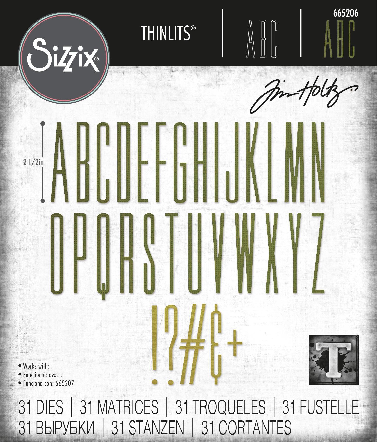 Sizzix Thinlits Dies By Tim Holtz -Alphanumeric Stretch Upper