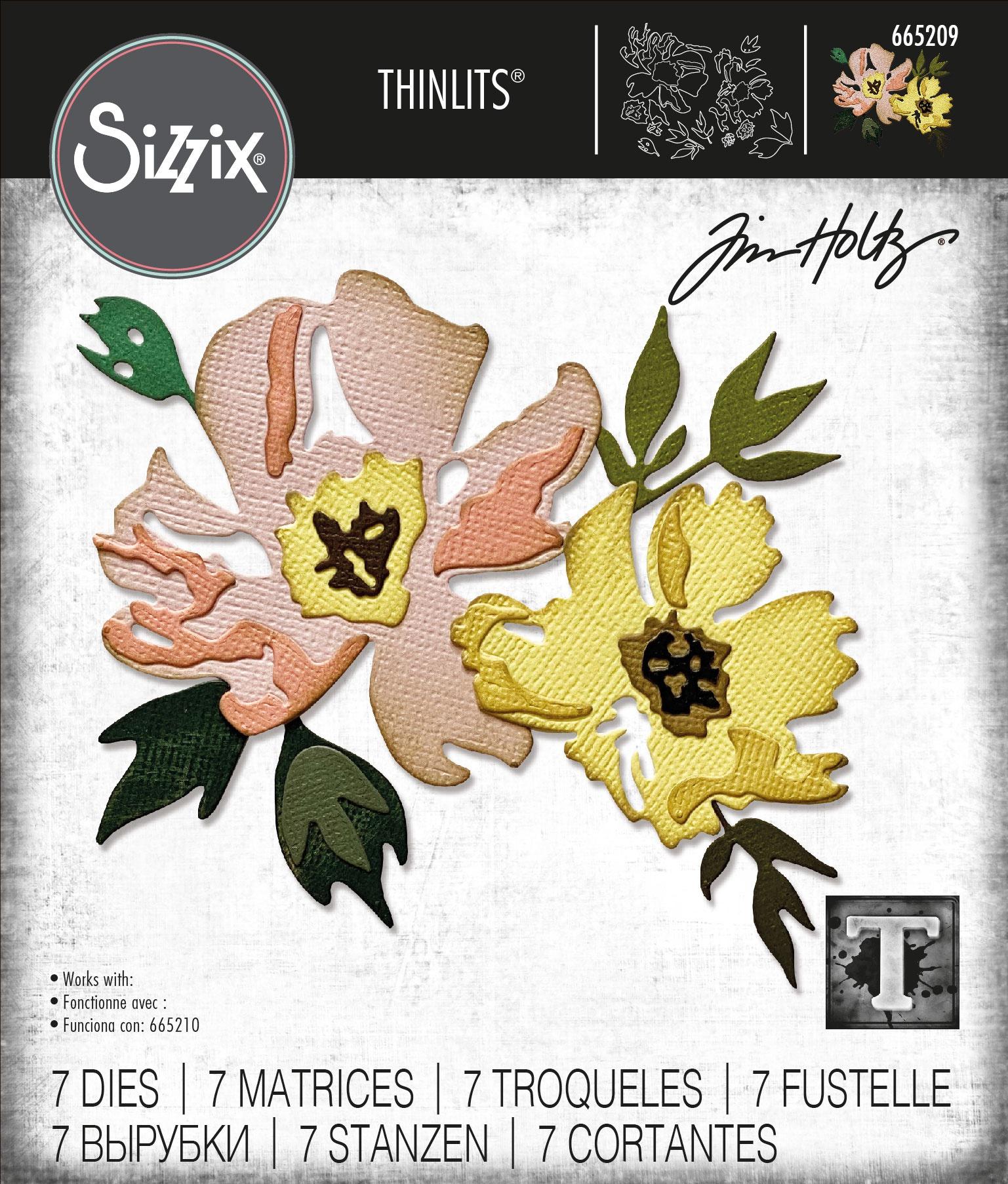 Sizzix Thinlits Dies By Tim Holtz -Brushstroke Flowers #1