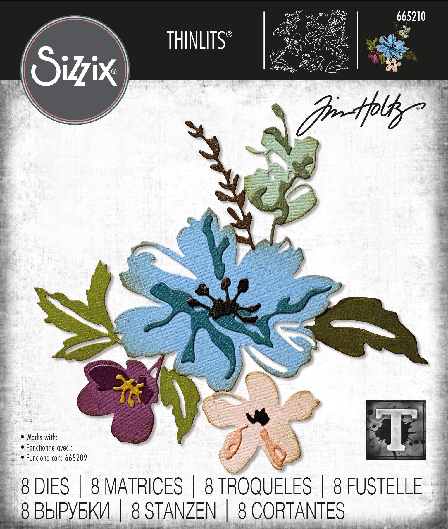 Sizzix Thinlits Dies By Tim Holtz -Brushstroke Flowers #2