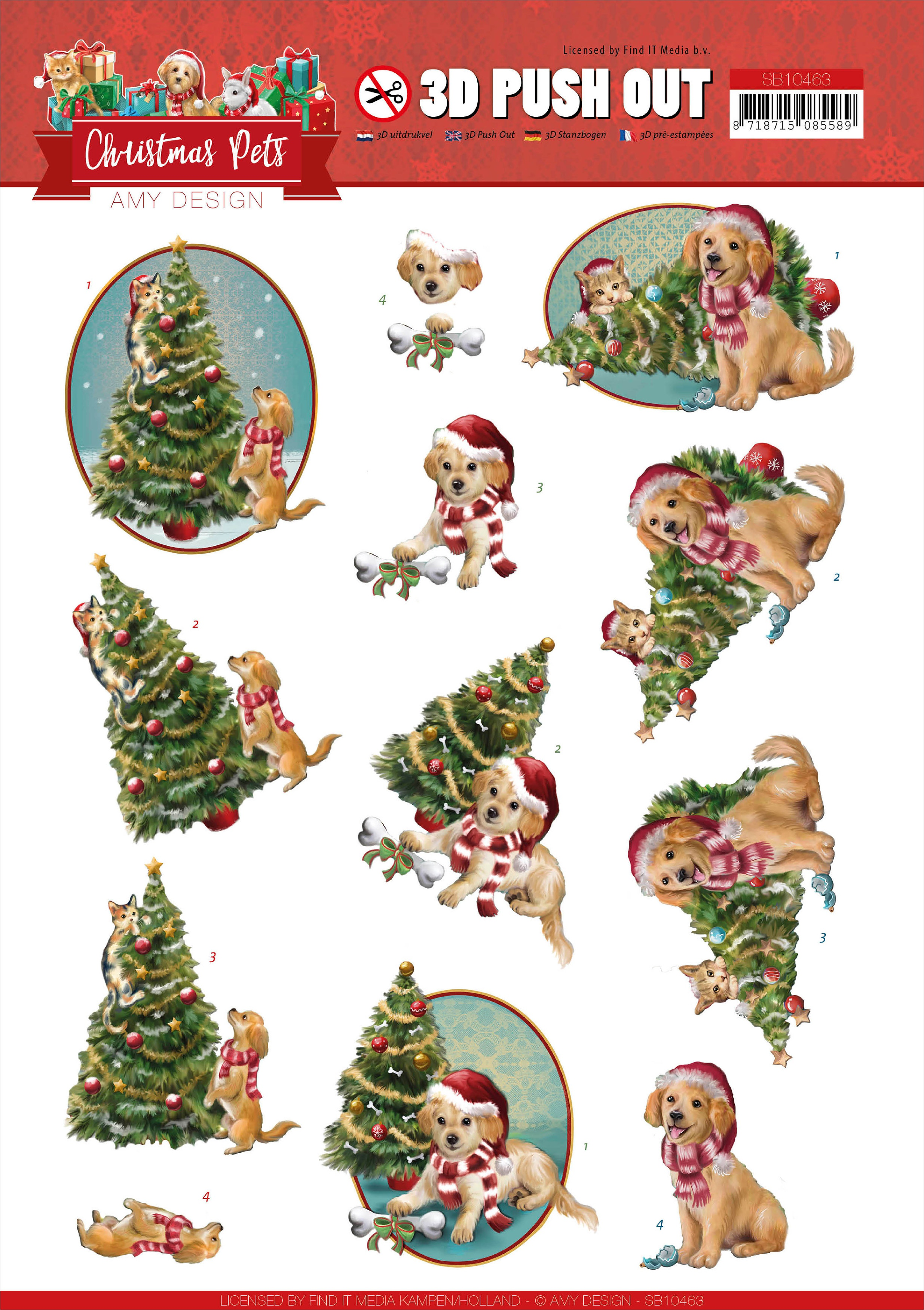 Find It Trading Amy Design - Punchout Sheet Christmas Tree, Christmas Pets