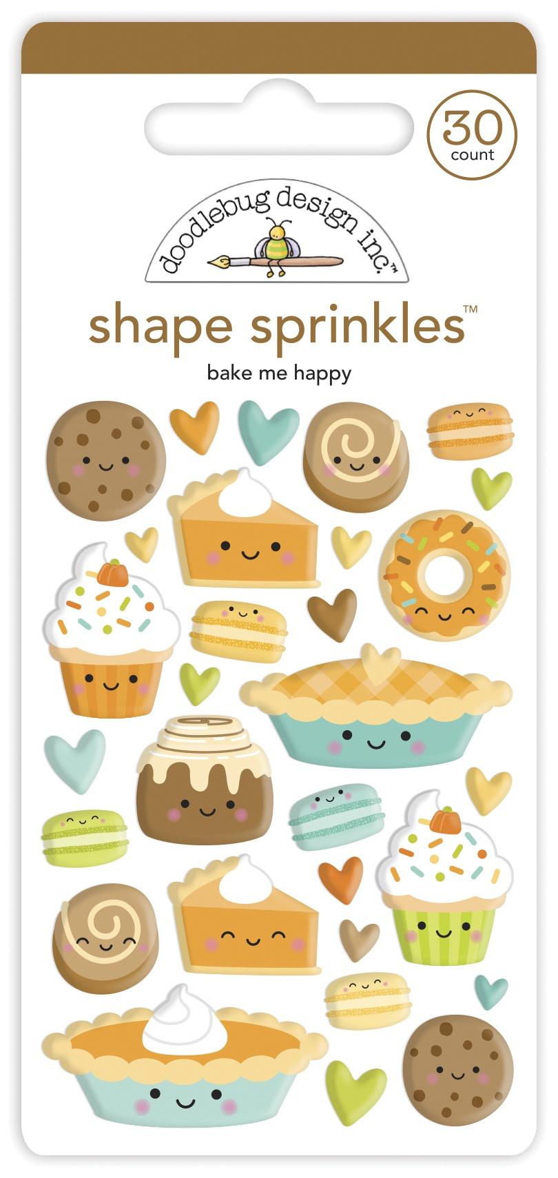 Doodlebug Sprinkles Adhesive Enamel Shapes-Bake Me Happy