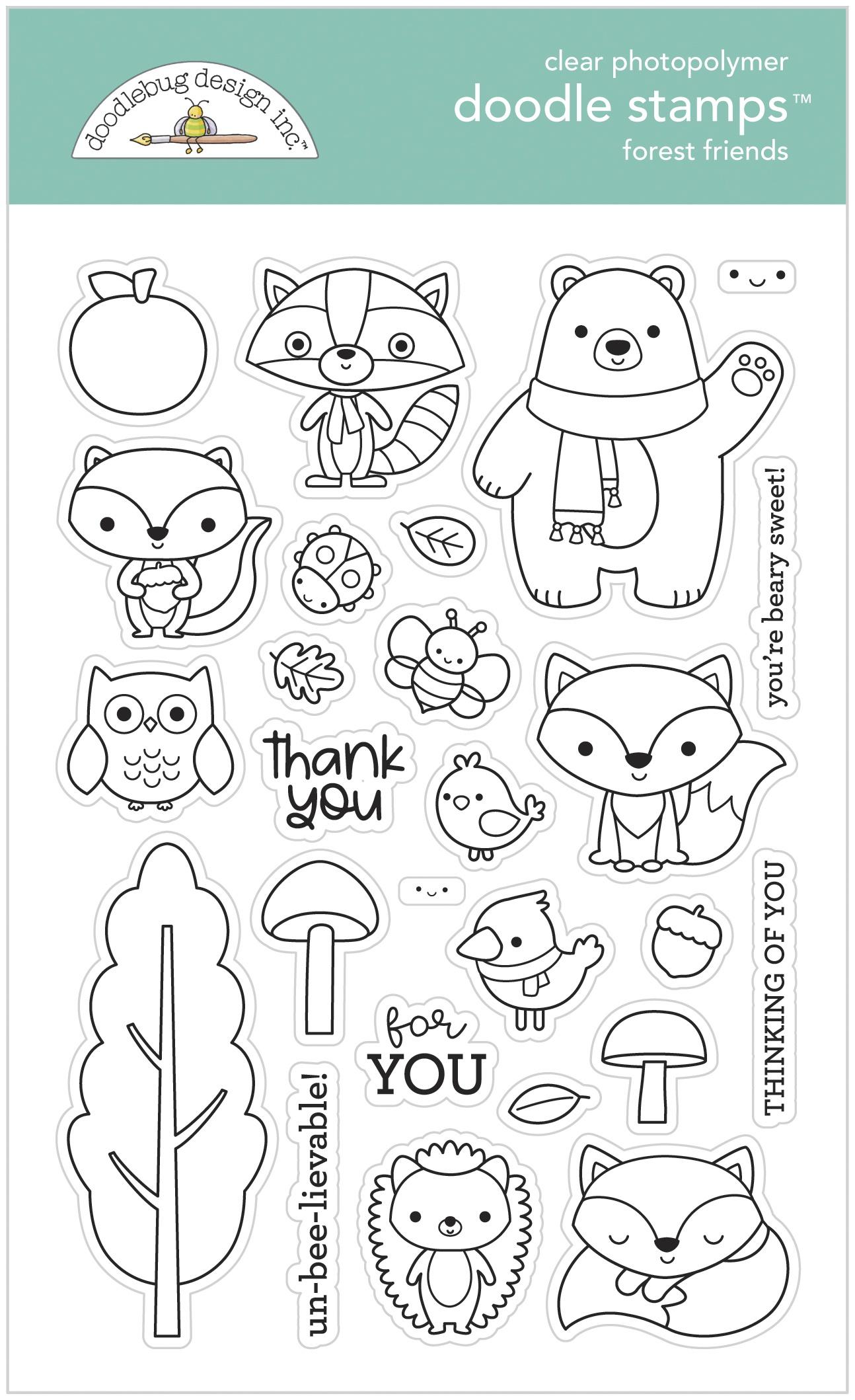 Doodlebug Clear Doodle Stamps-Forest Friends