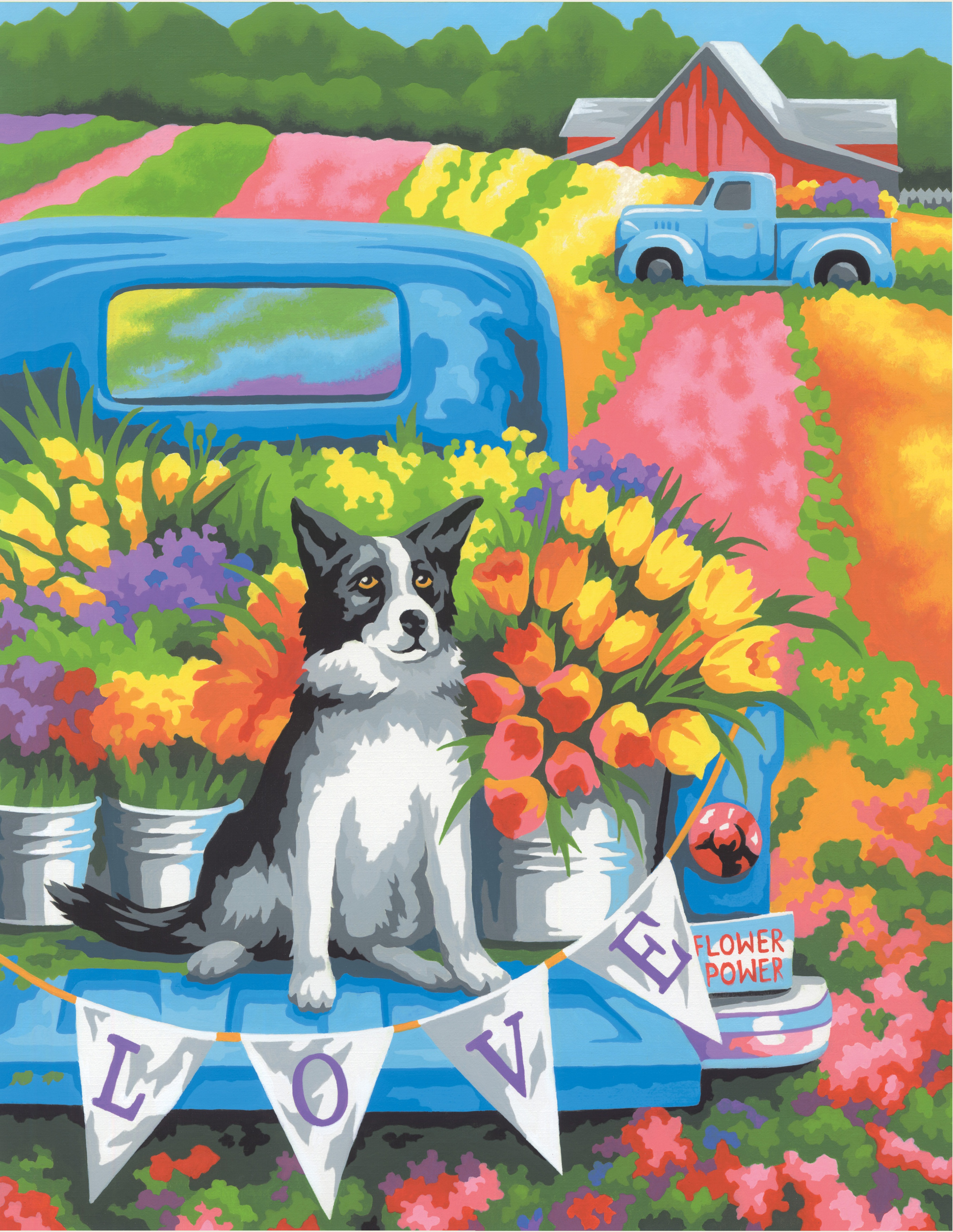 Paint Works Paint By Number Kit 11X14-Flower Power Dog