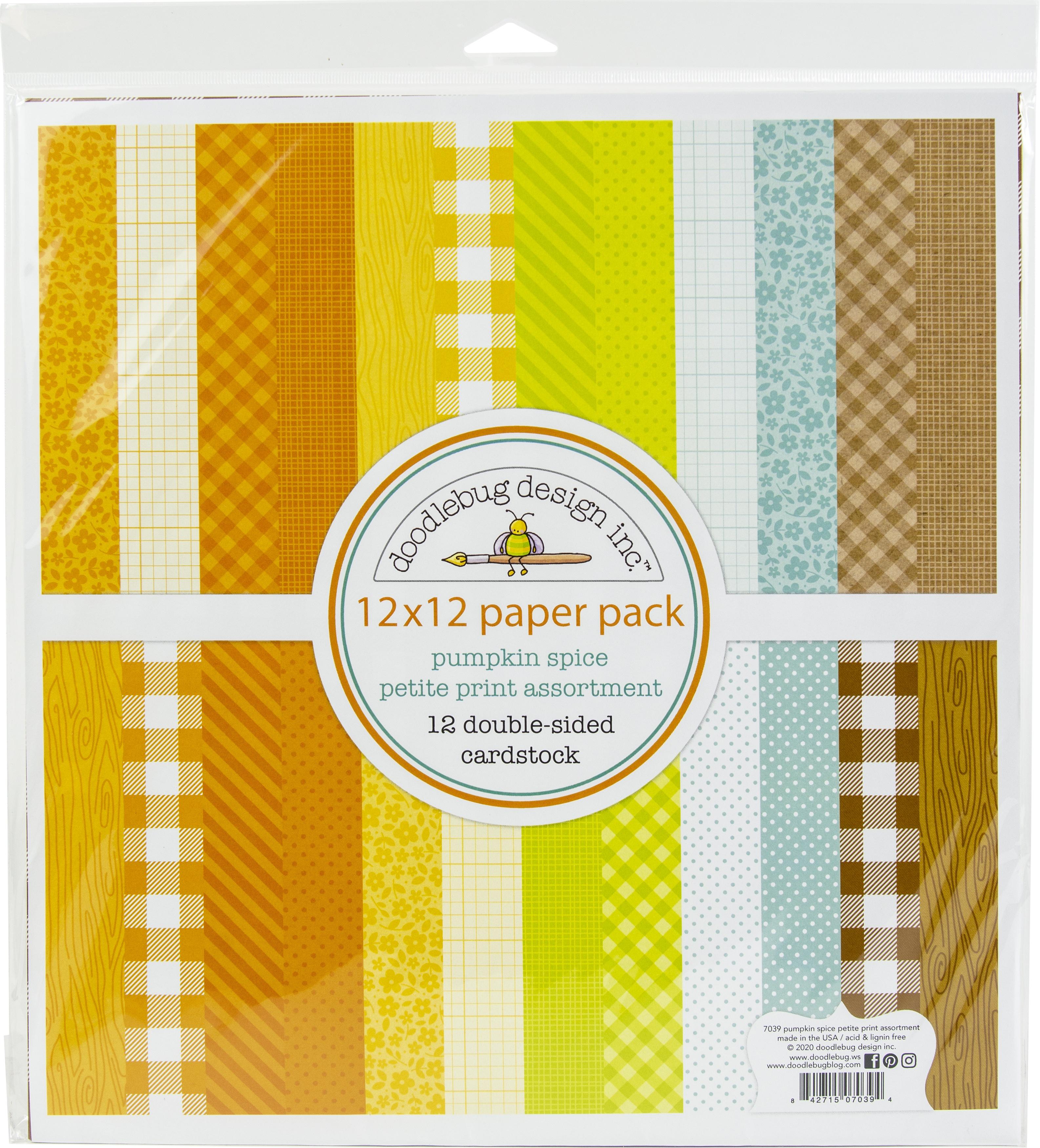 Doodlebug Petite Prints Double-Sided Cardstock 12X12 12/Pk-Pumpkin Spice, 12 D...