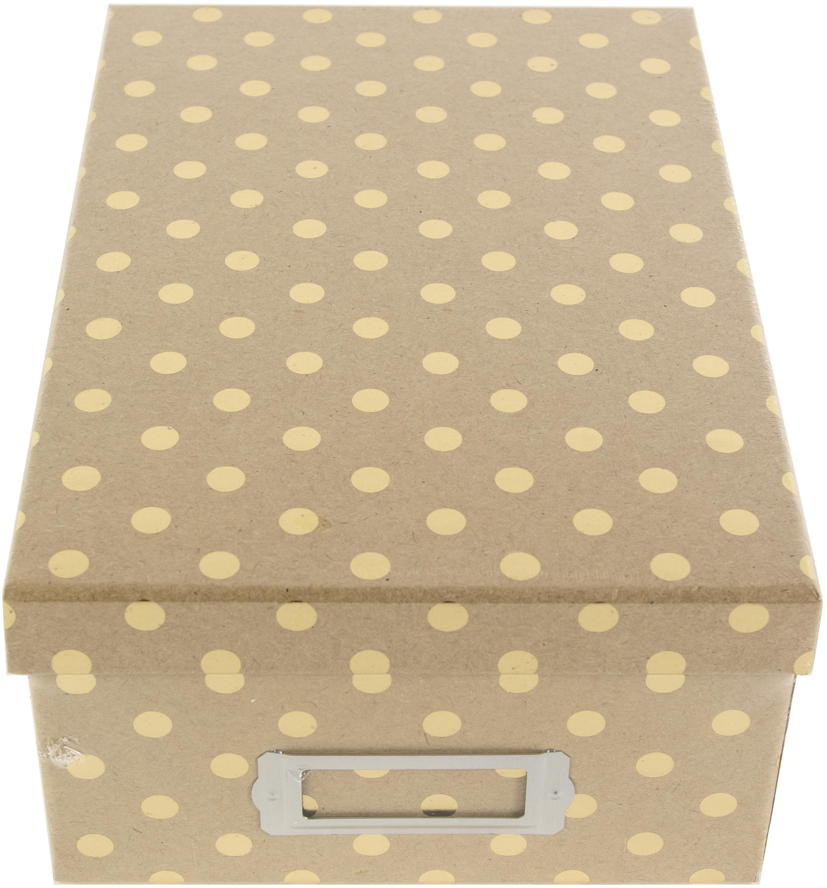 DCWV Photo Box W/Bookplate 11X7.375X4.375-Kraft W/Gold Dots