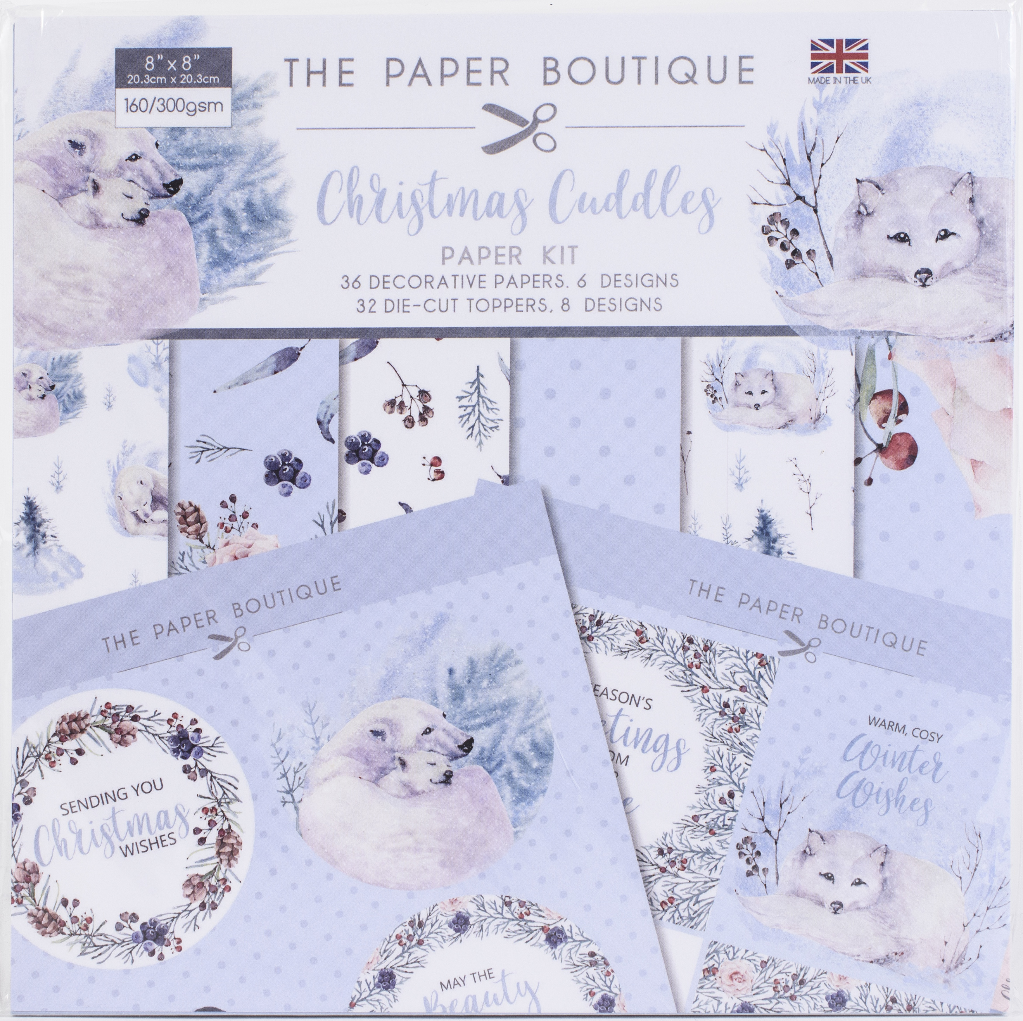 THE PAPER BOUTIQUE 8X8 PAD: PAPER KIT- CHRISTMAS CUDDLES