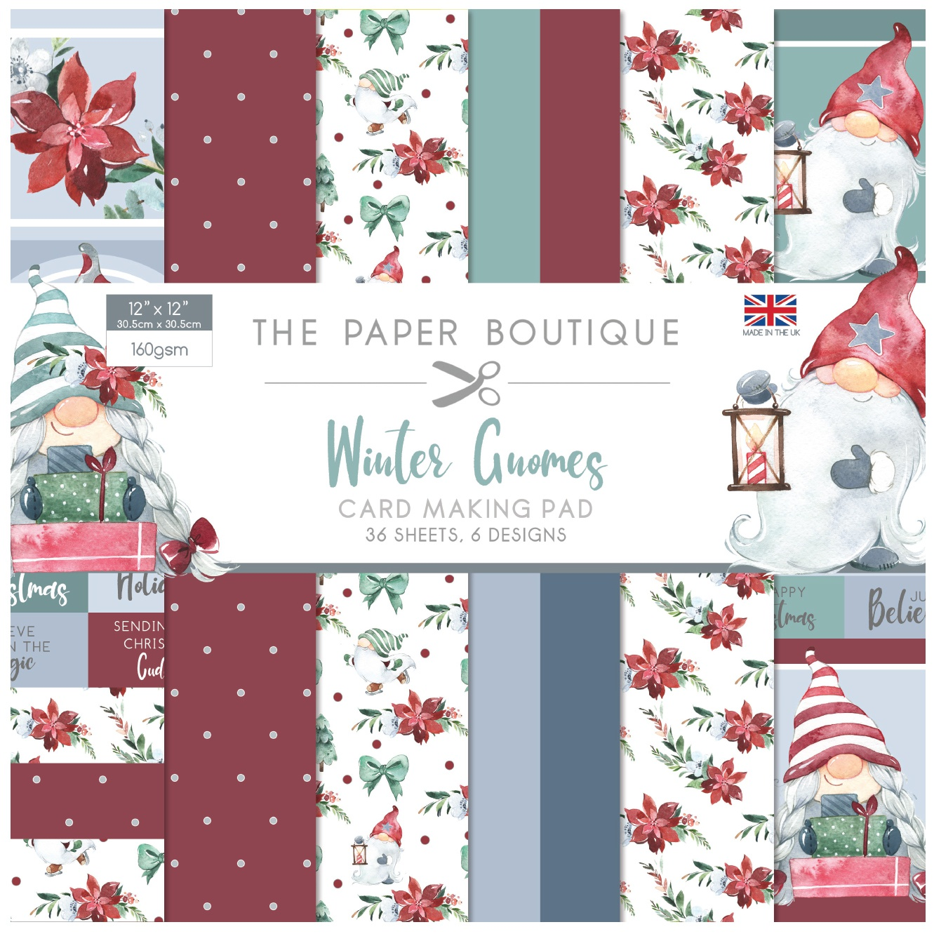 The Paper Boutique Card Making Pad 12X12 36/Pkg-Winter Gnomes, 6 Designs