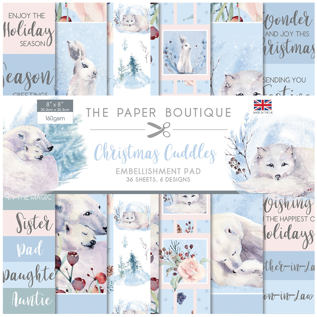 THE PAPER BOUTIQUE 8X8 PAD: EMBELLISHMENT- CHRISTMAS CUDDLES