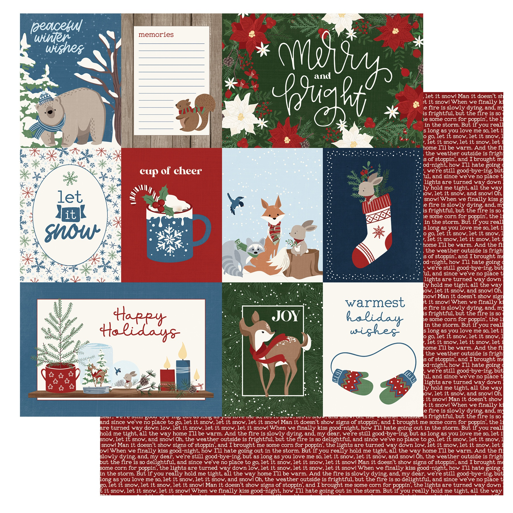 Winter Memories Double-Sided Cardstock 12X12-Greetings