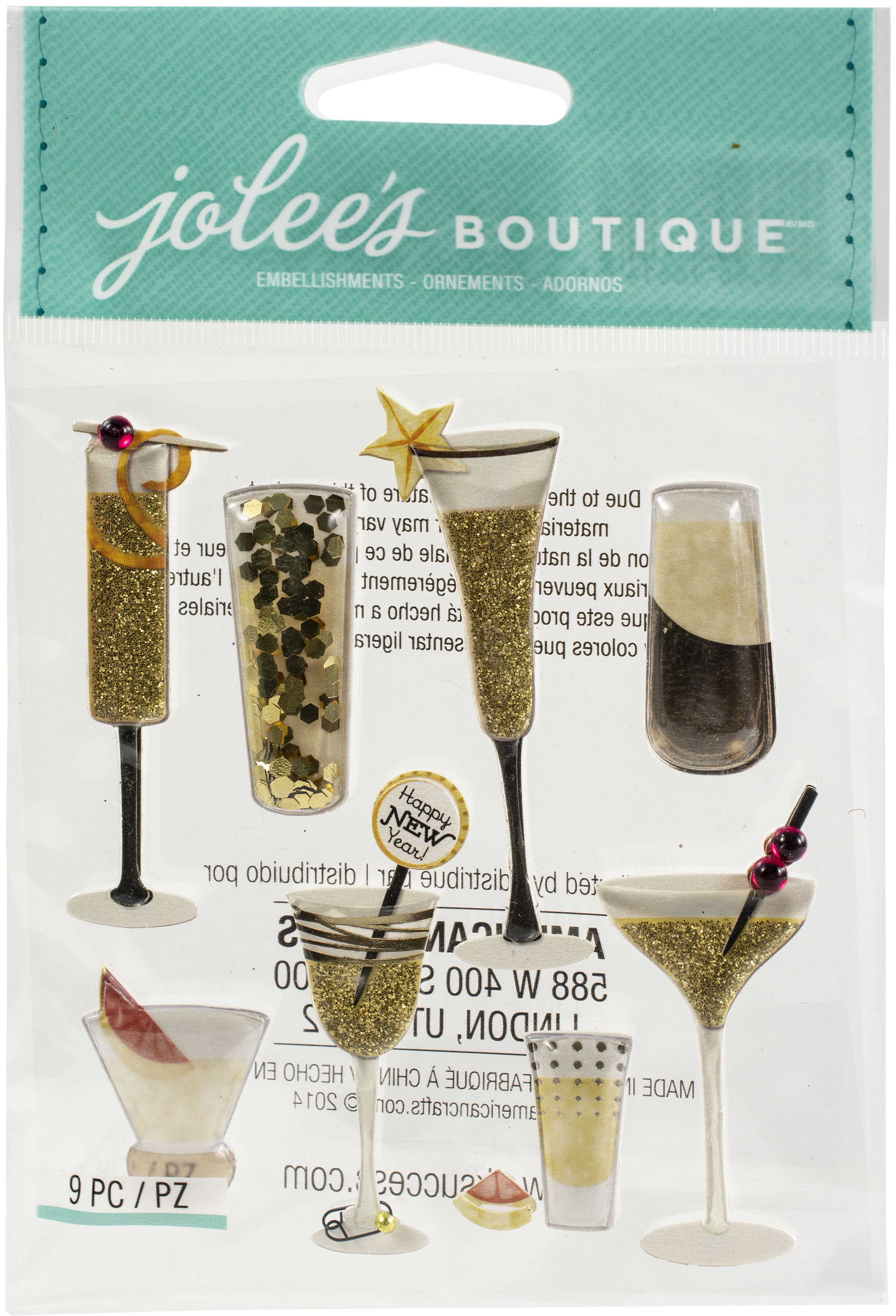 Jolee's Boutique Themed Embellishments-Champagne And Cocktails
