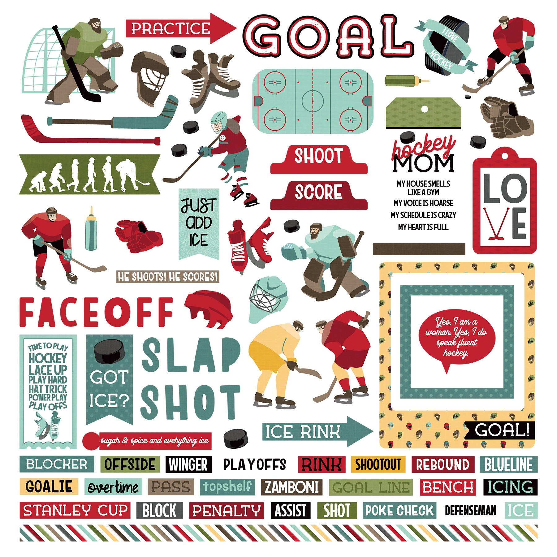 The Hockey Life Stickers 12X12-Elements