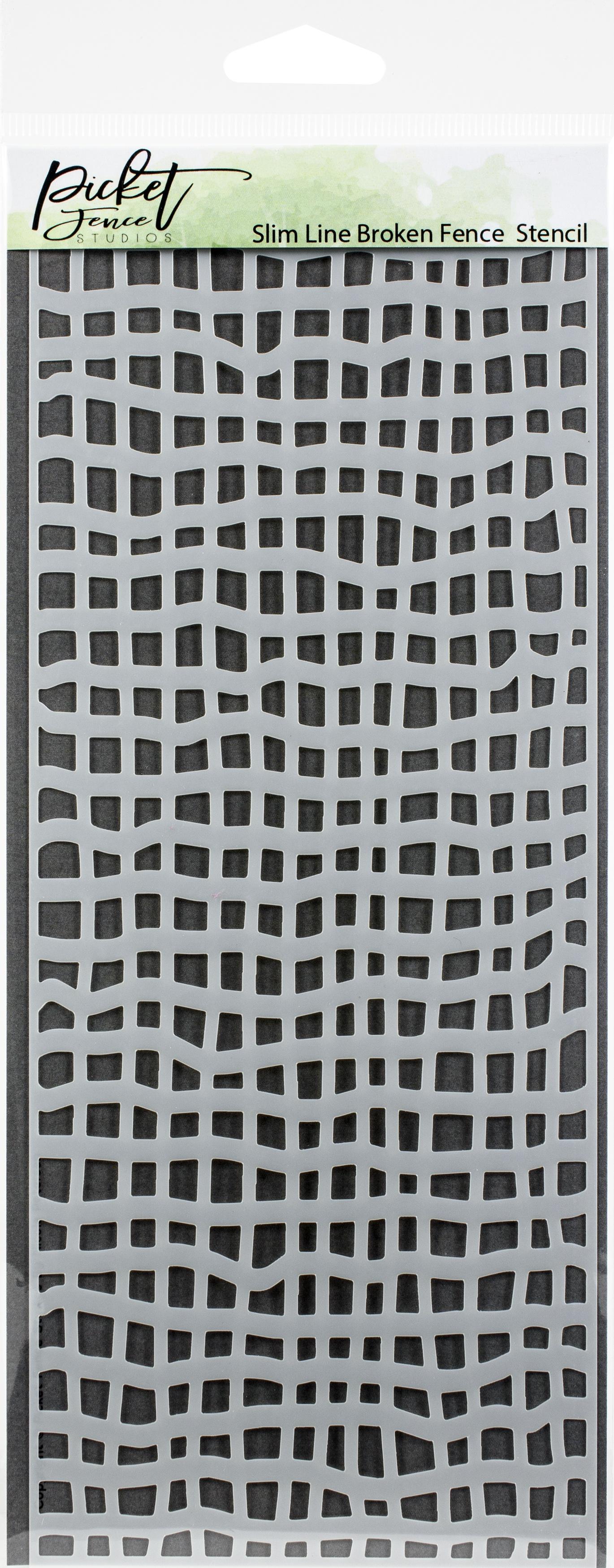 Picket Fence Studios Stencil 4X8-Slim Line Broken Fence