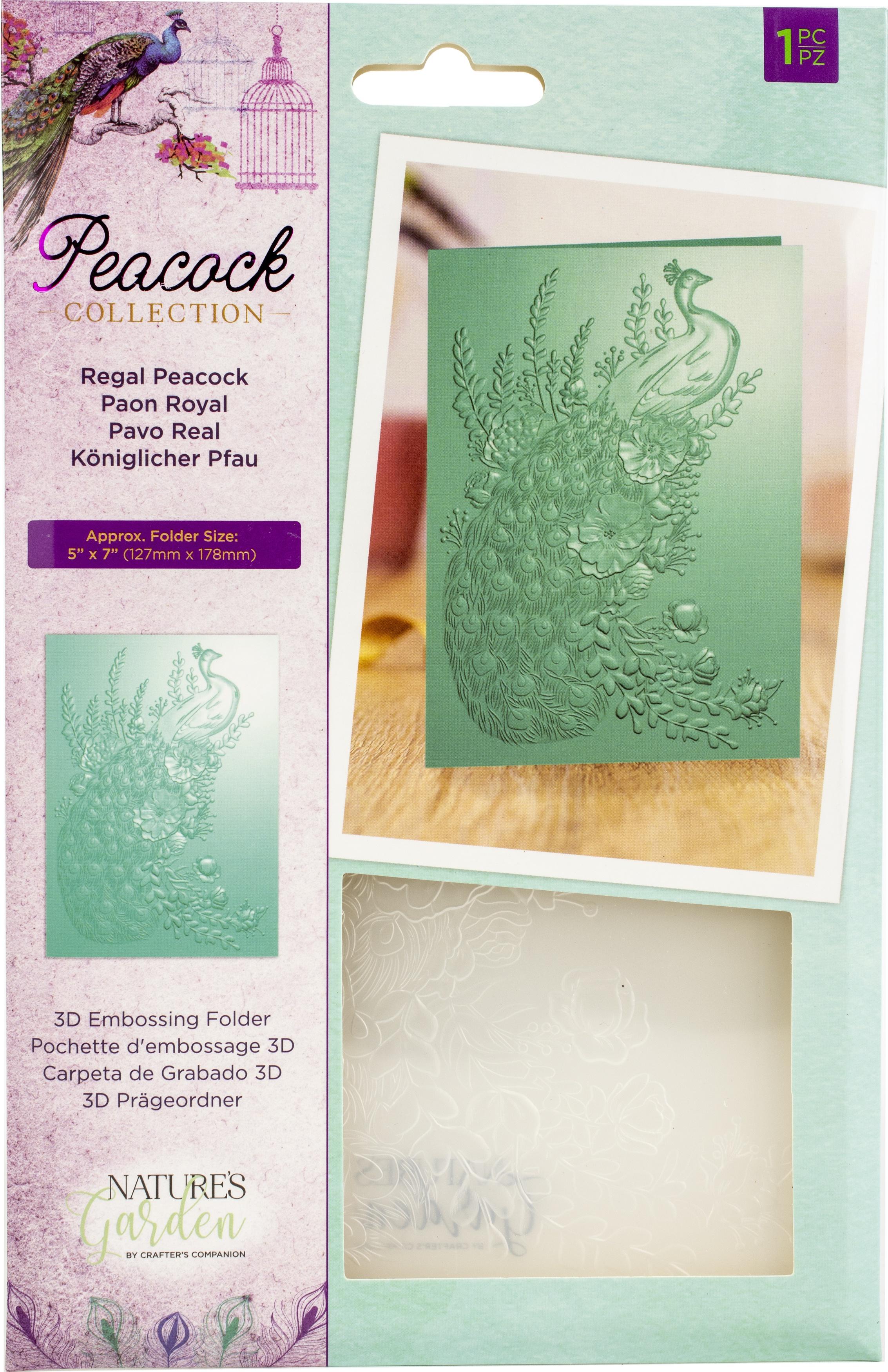 Regal Peacock 3D Embossing Folder 5X7