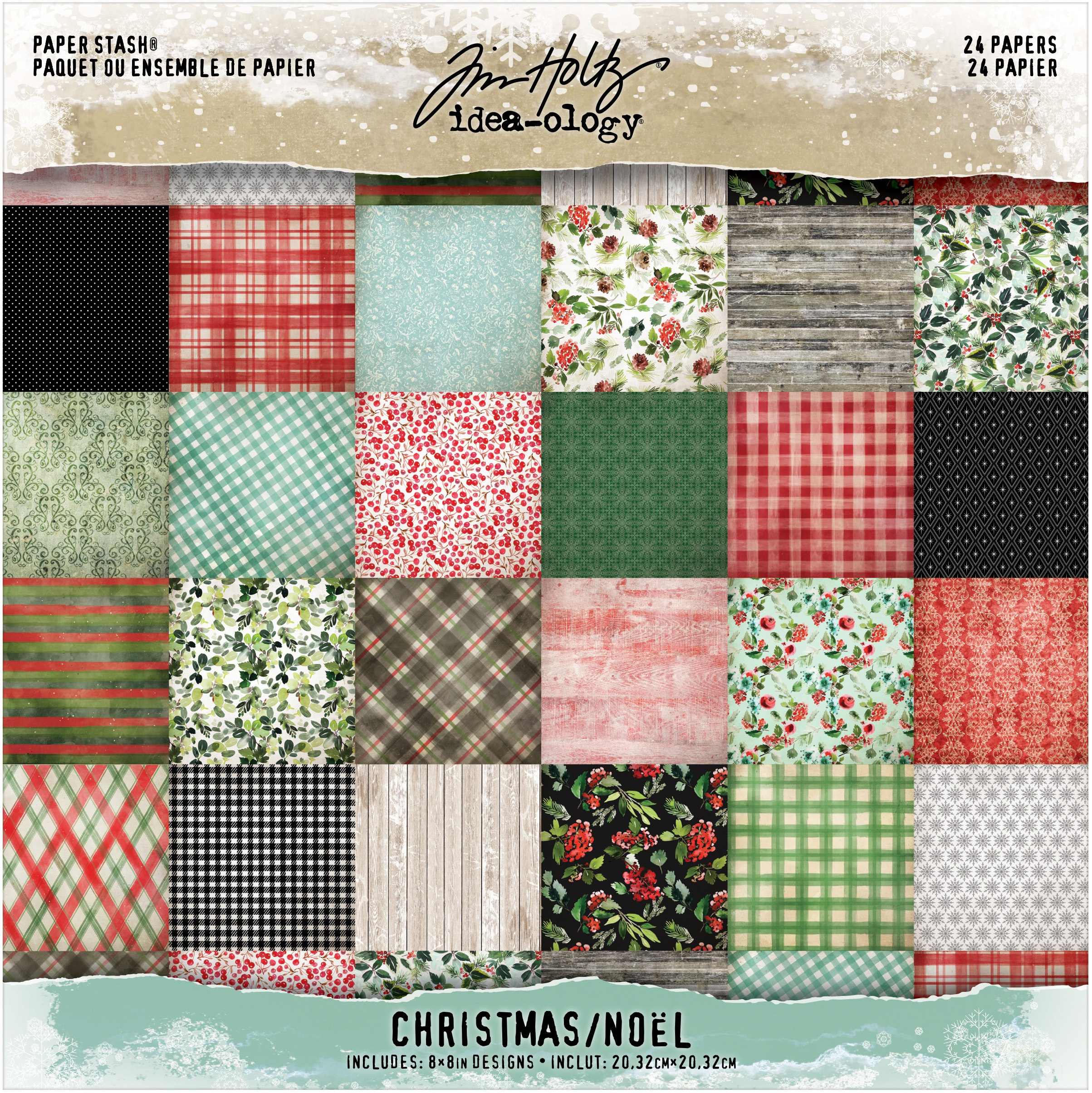 Tim Holtz Idea-Ology Paper Stash Double-Sided Paper Pad 8X8 24/Pkg-Christmas 12 Designs...