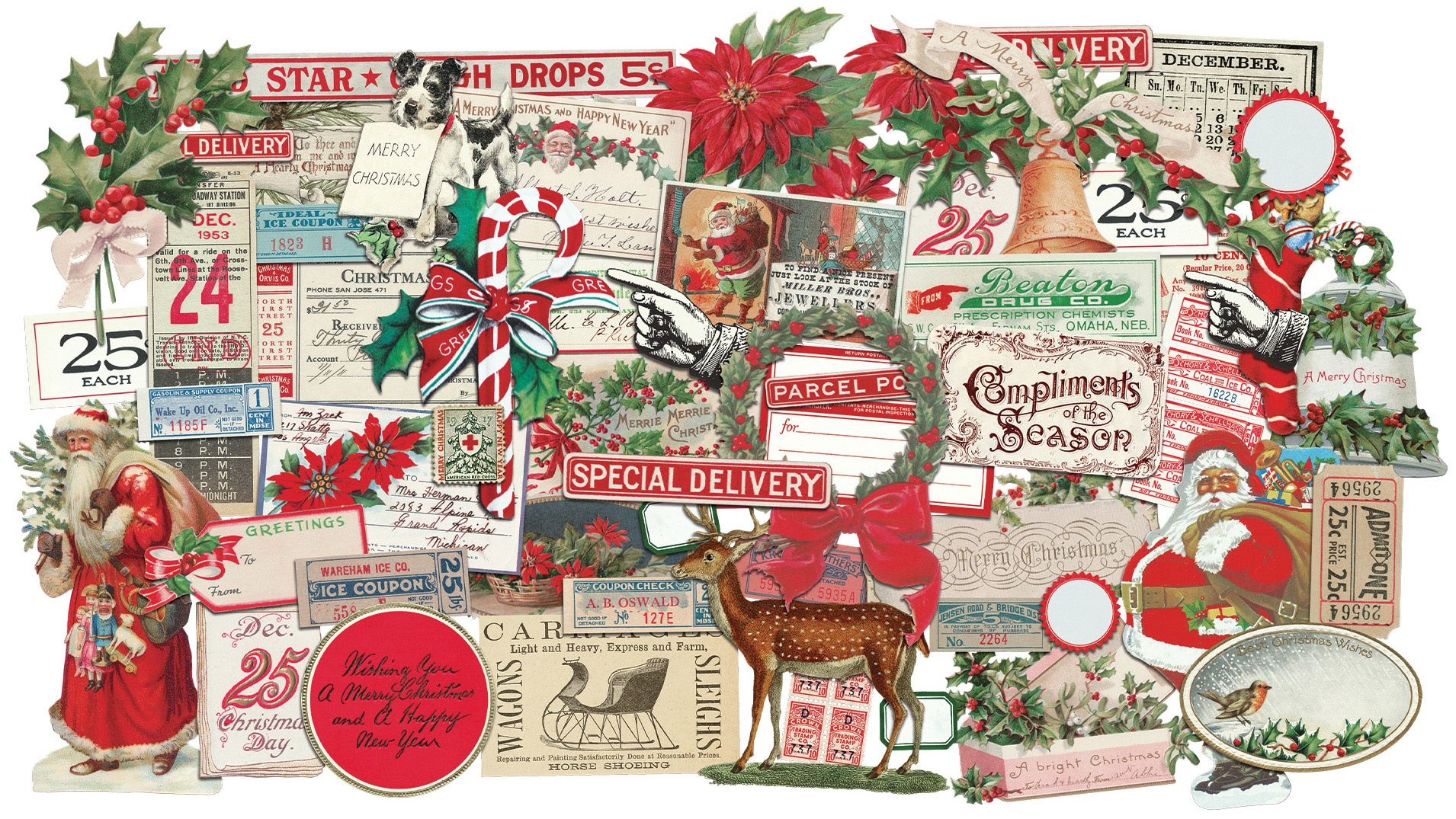 Idea-Ology Ephemera Pack 57/Pkg-Snippets Tiny Die-Cuts/Christmas