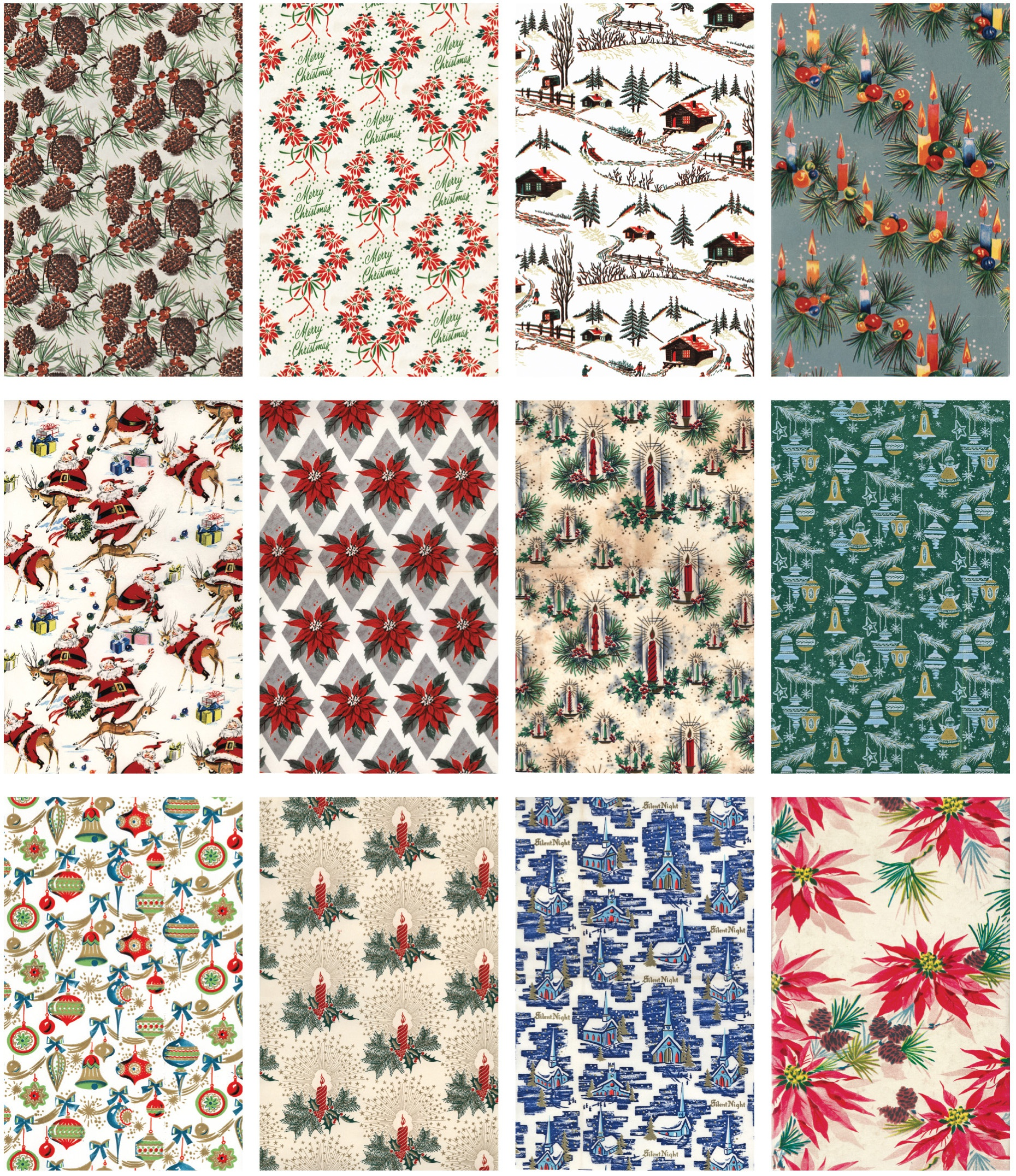 Idea-Ology Worn Wallpaper 5X8 24/Pkg-Christmas, 12 Designs/2 Each