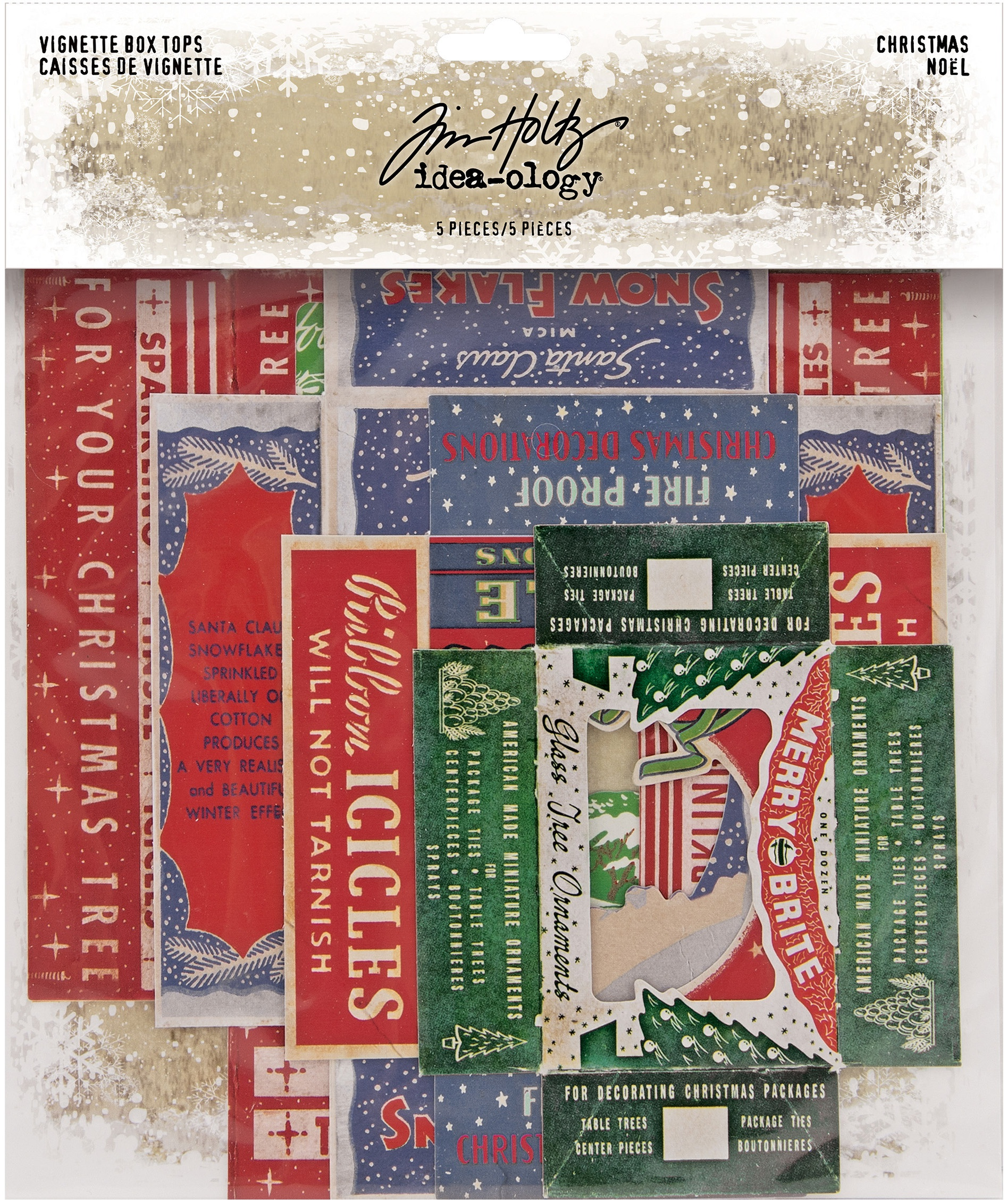 Idea-Ology Vignette Box Tops 5/Pkg-Christmas