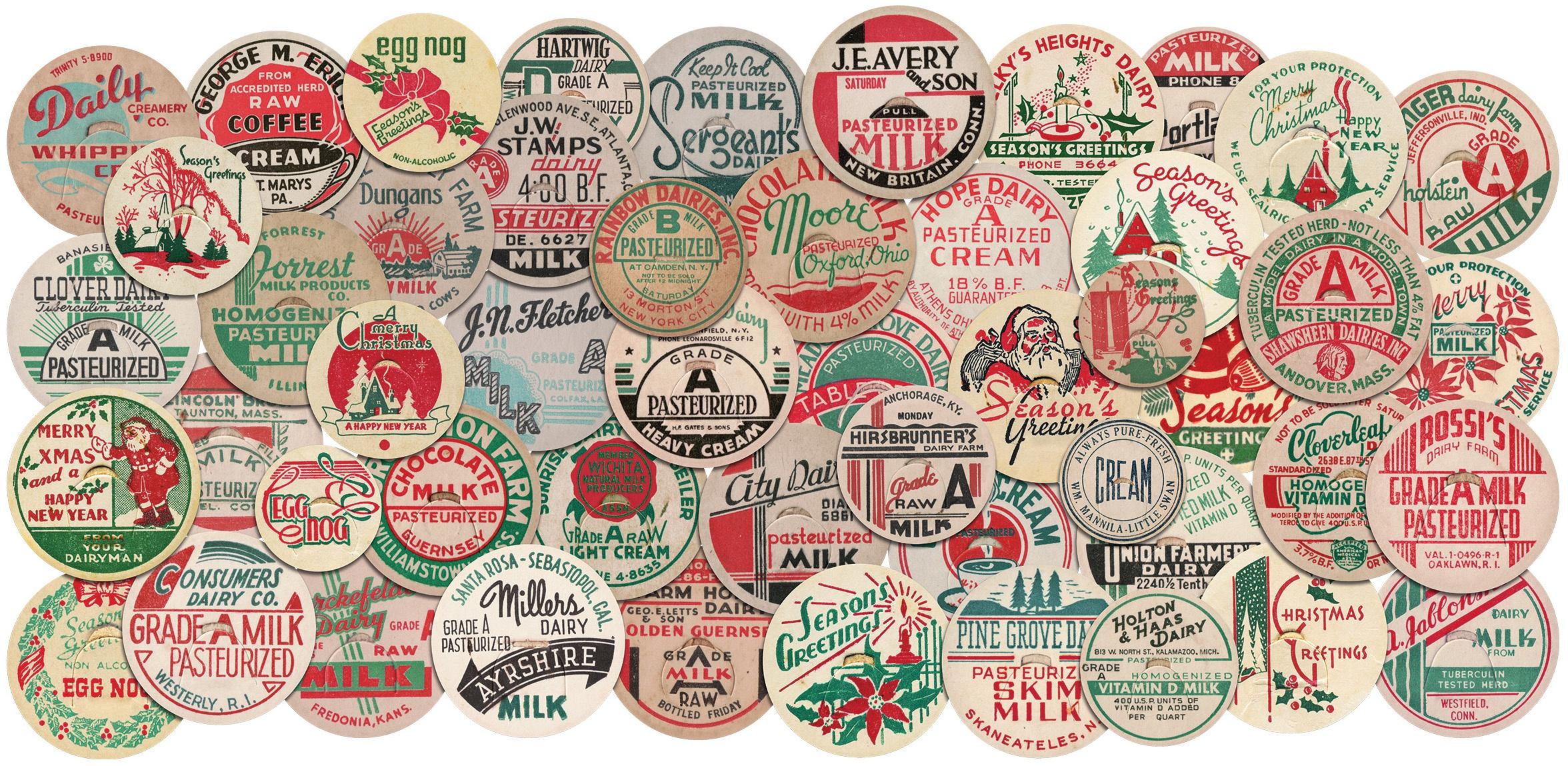 Idea-Ology Chipboard Milk Caps 50/Pkg-Christmas, 1 To 1.625