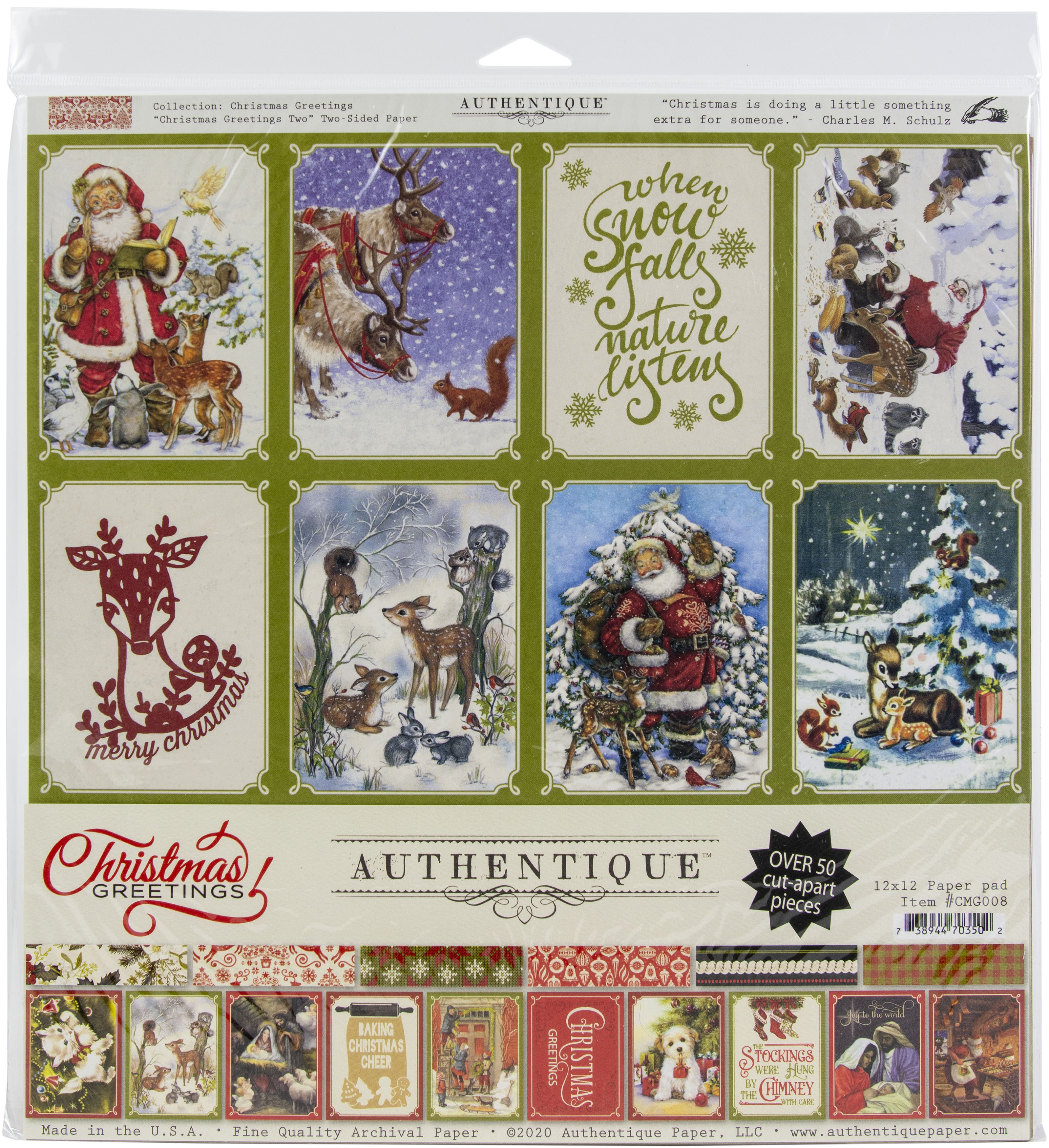 Authentique Double-Sided Cardstock Pad 12X12 18/Pkg-Christmas Greetings