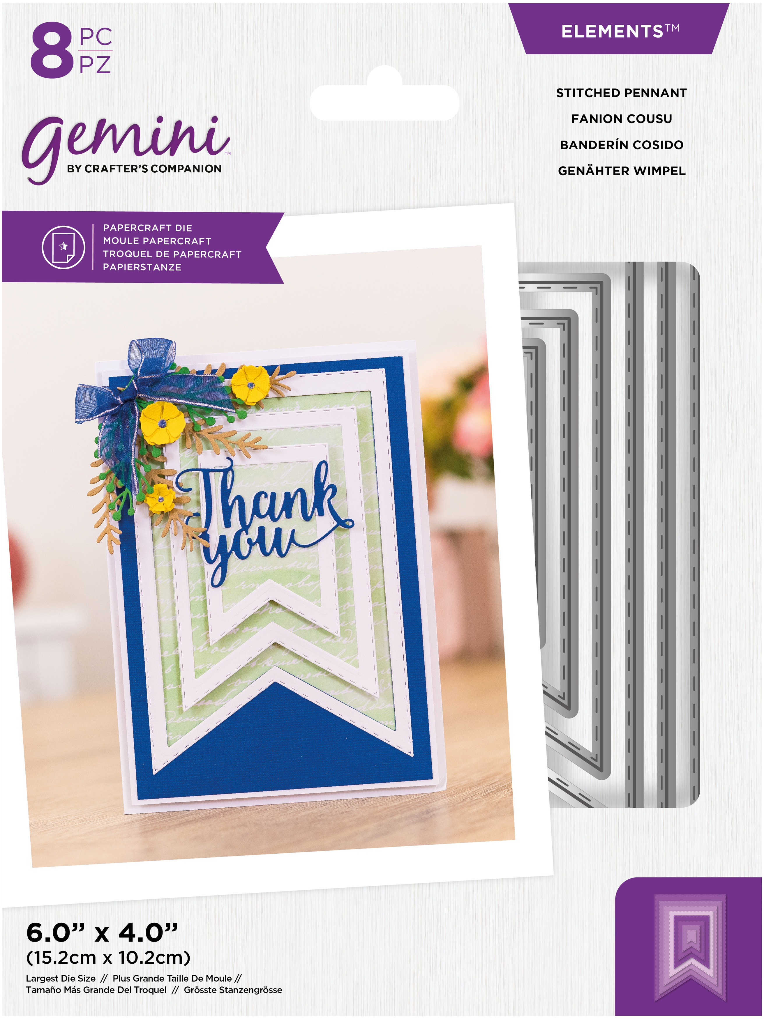 Crafter's Companion Gemini Elements Dies-Stitched Pennant