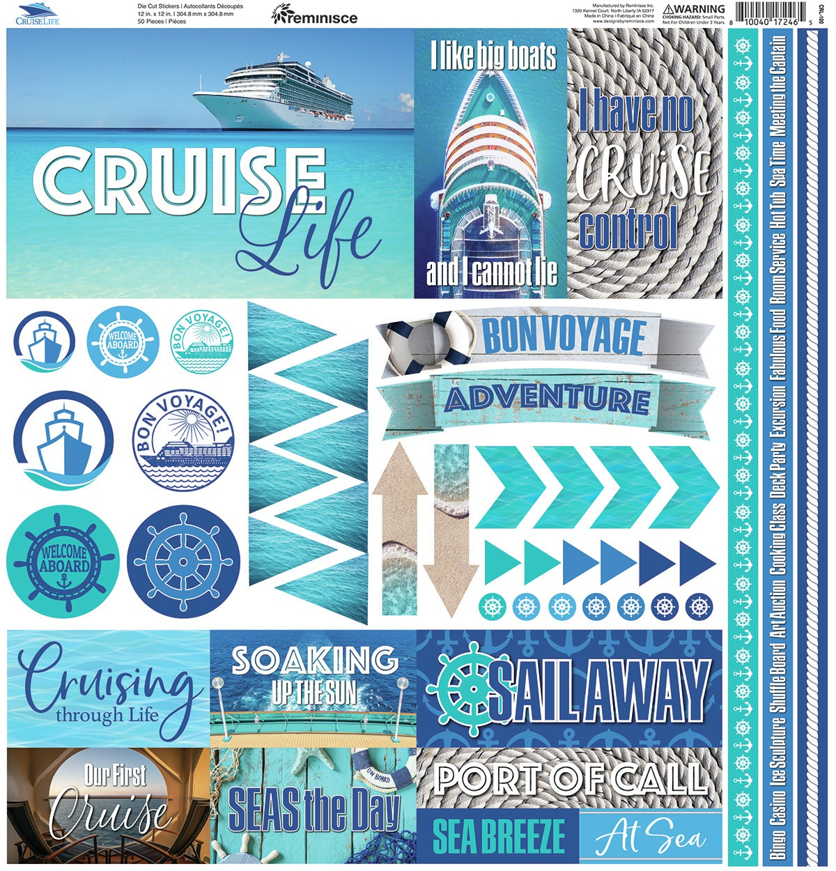 Reminisce Elements Cardstock Stickers 12X12-Cruise Life