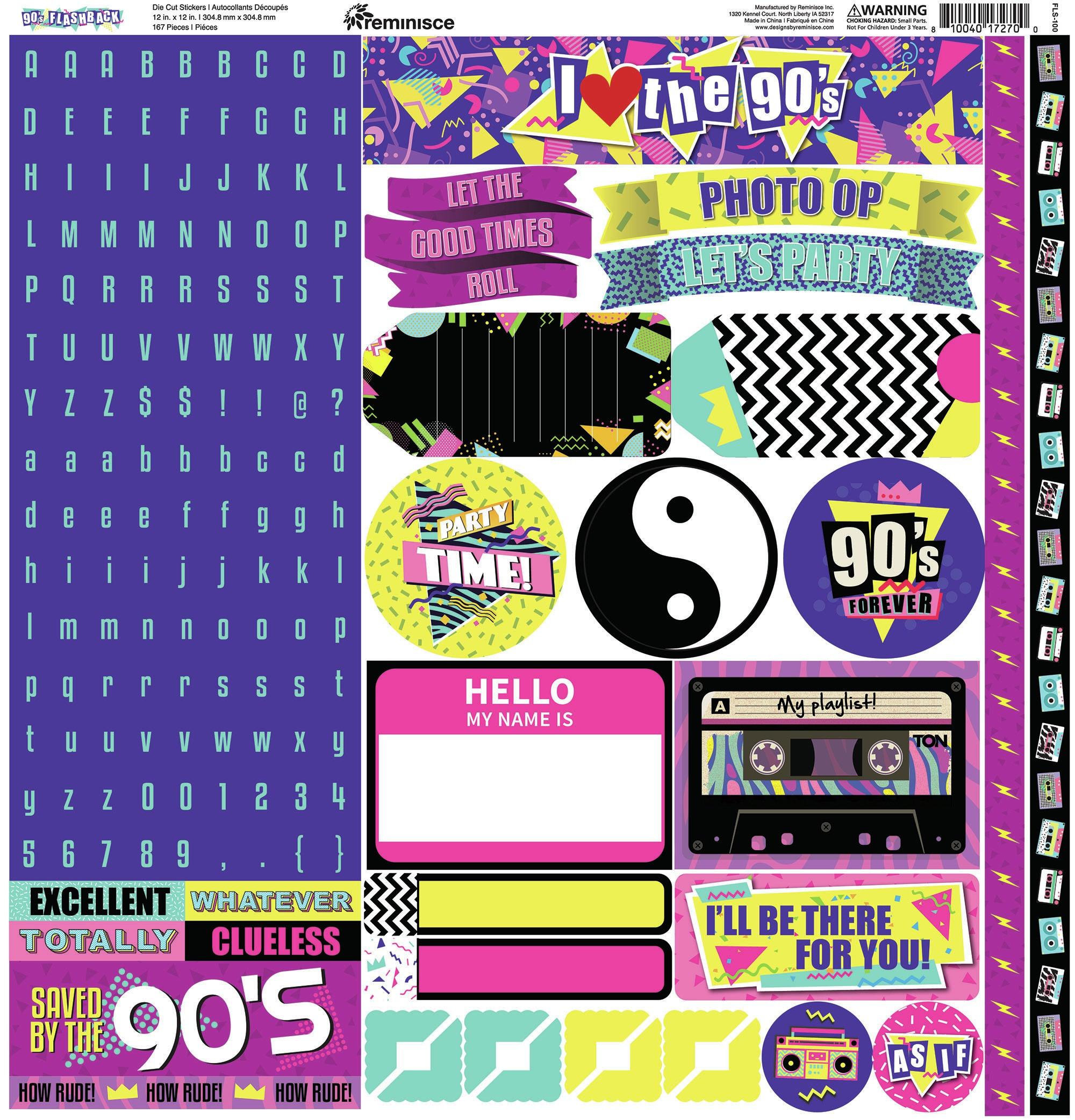 Reminisce Alpha Cardstock Stickers 12X12-90's Flashback