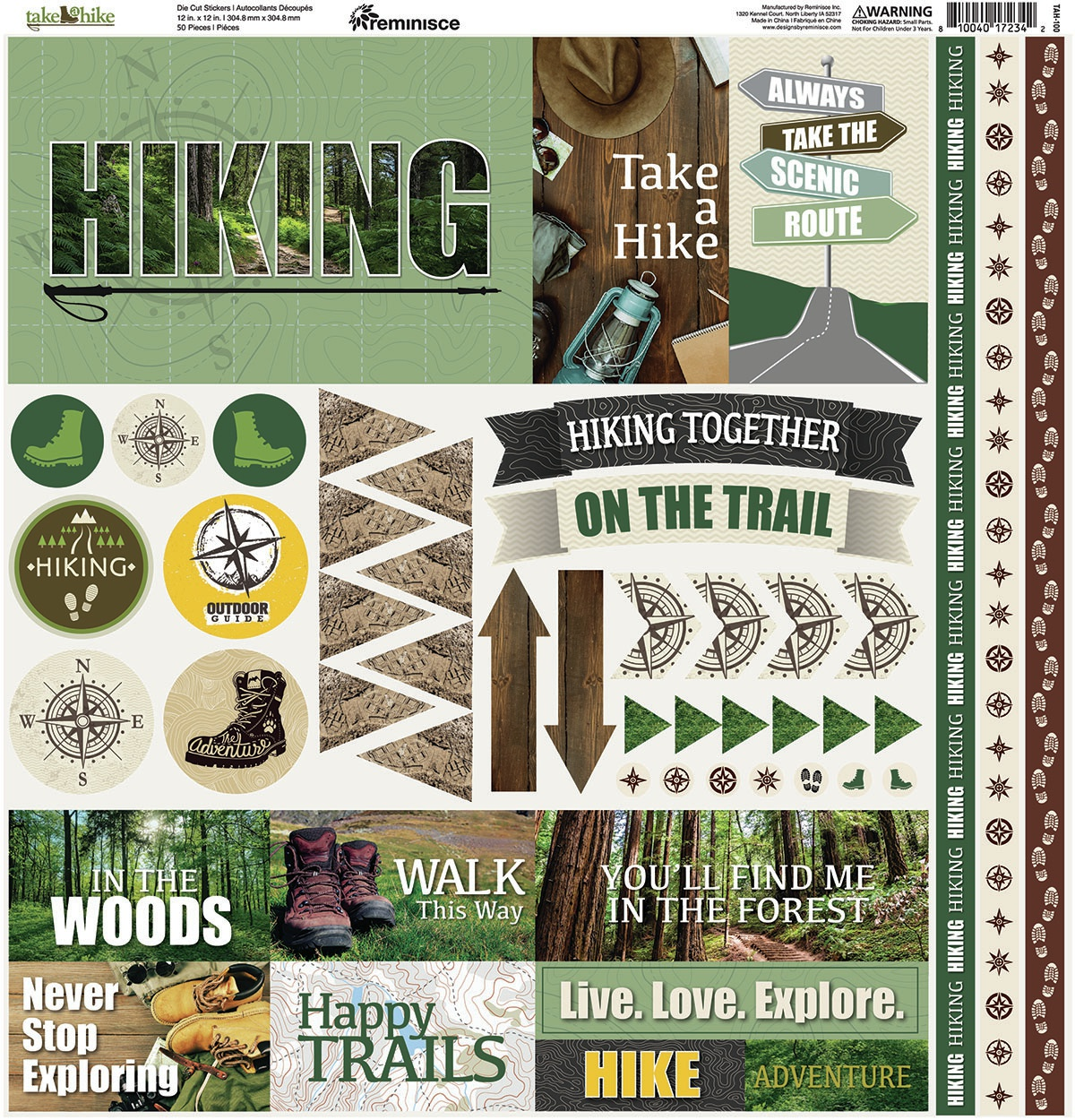 Reminisce Elements Cardstock Stickers 12X12-Take A Hike