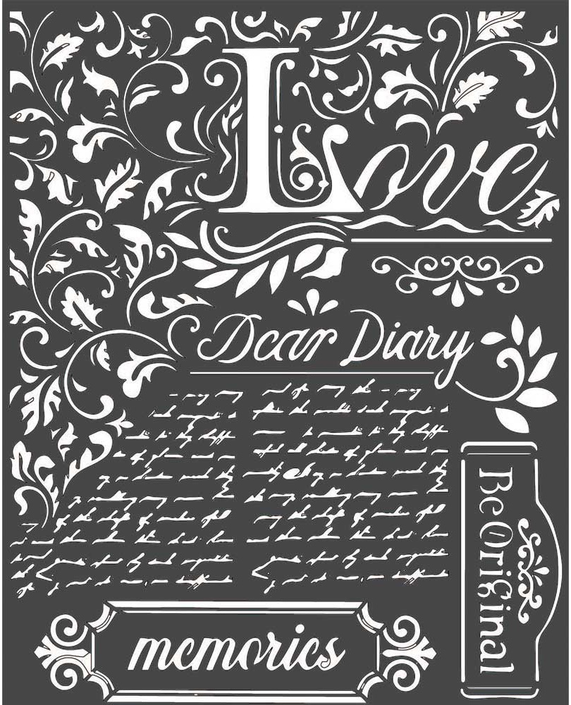 Stamperia media stencil 8x10 - Dear Diary, Calligraphy