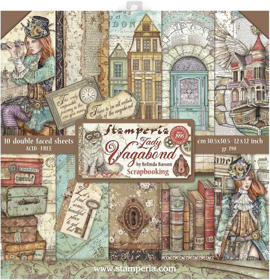 Stamperia Double-Sided Paper Pad 12X12 10/Pkg-Lady Vagabond, 10 Designs/1 Each