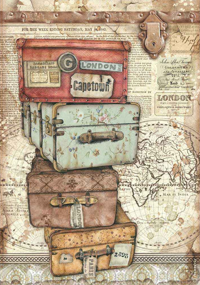 Stamperia Rice Paper Sheet A4-Luggage, Lady Vagabond