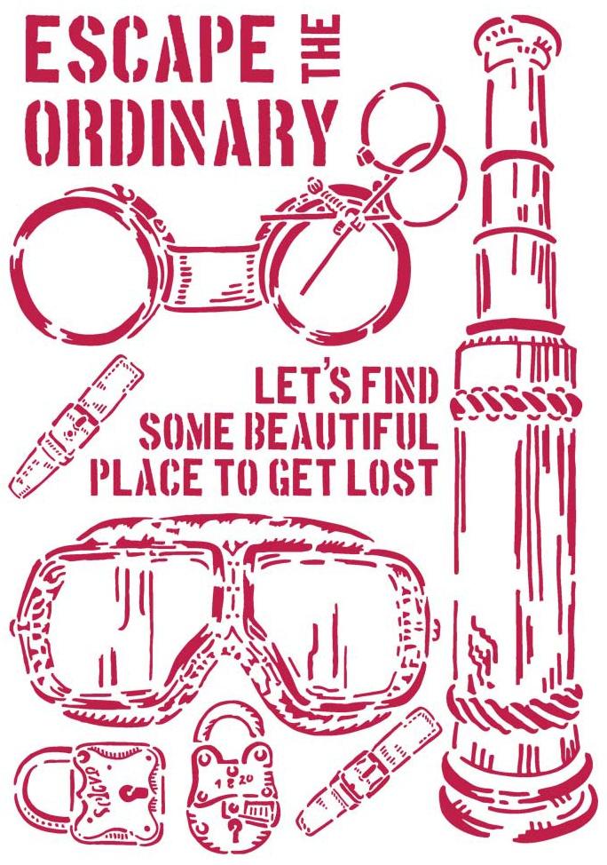 Stamperia Stencil G 8.27X11.69-Escape The Ordinary, Lady Vagabond