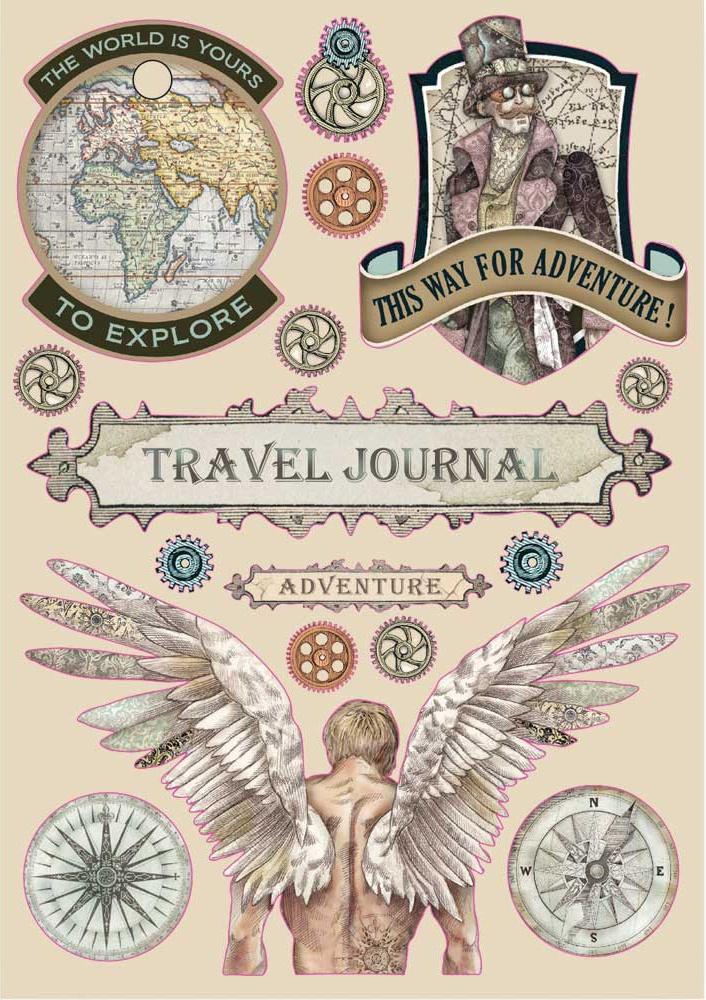 Stamperia Wooden Shapes A5-Travel Journal, Sir Vagabond
