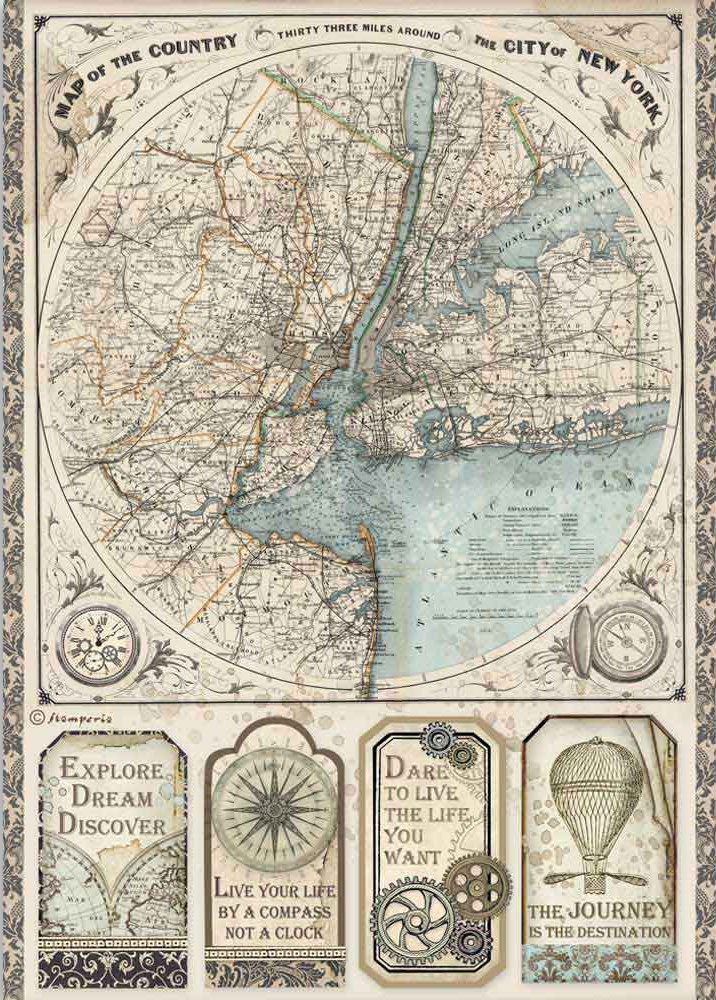Stamperia Rice Paper Sheet A4-Map Of New York, Sir Vagabond