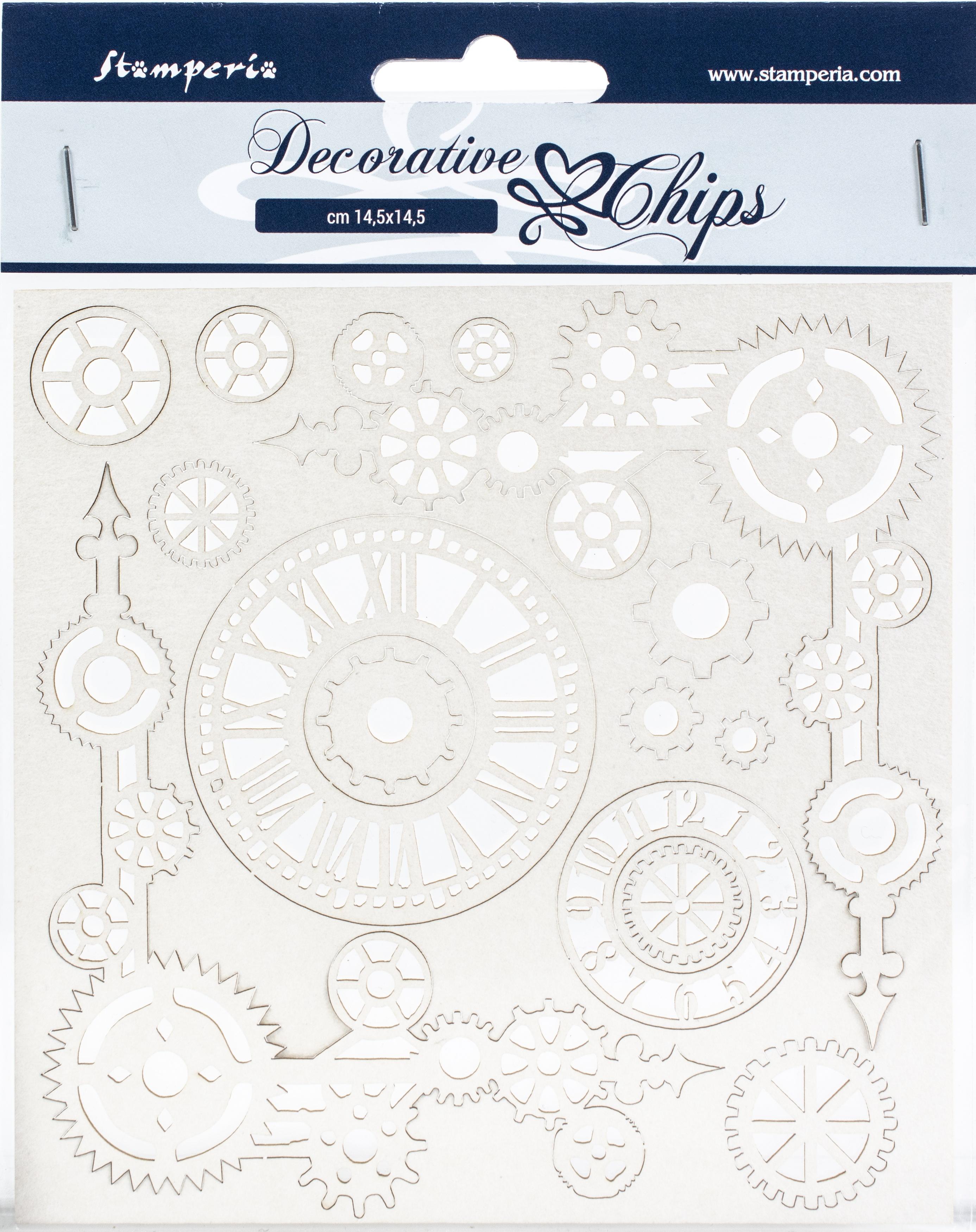 Stamperia Decorative Chips 5.5X5.5-Clock & Corners