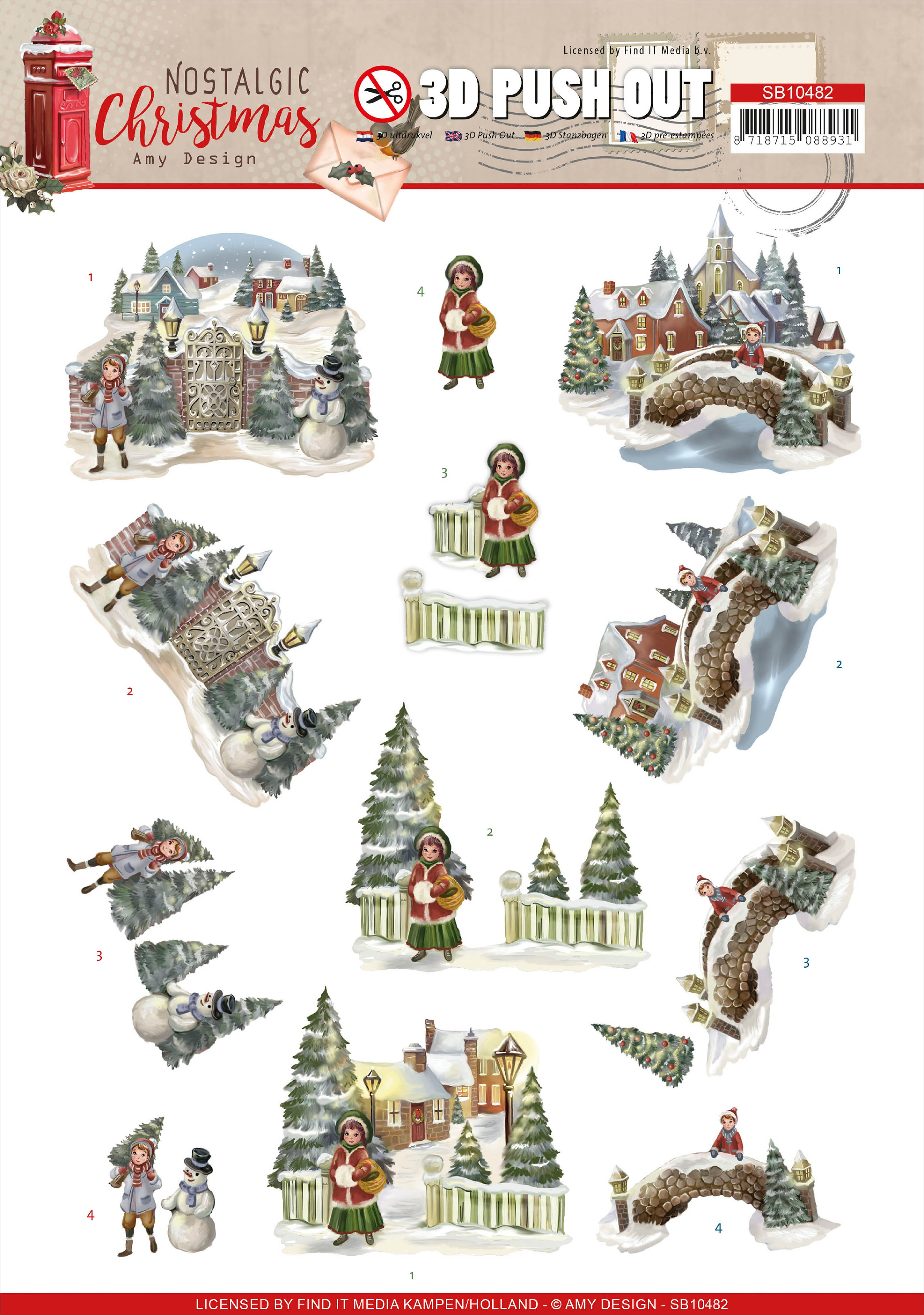 Find It Trading Amy Design - Punchout Sheet Nostalgic Christmas - Christmas Village