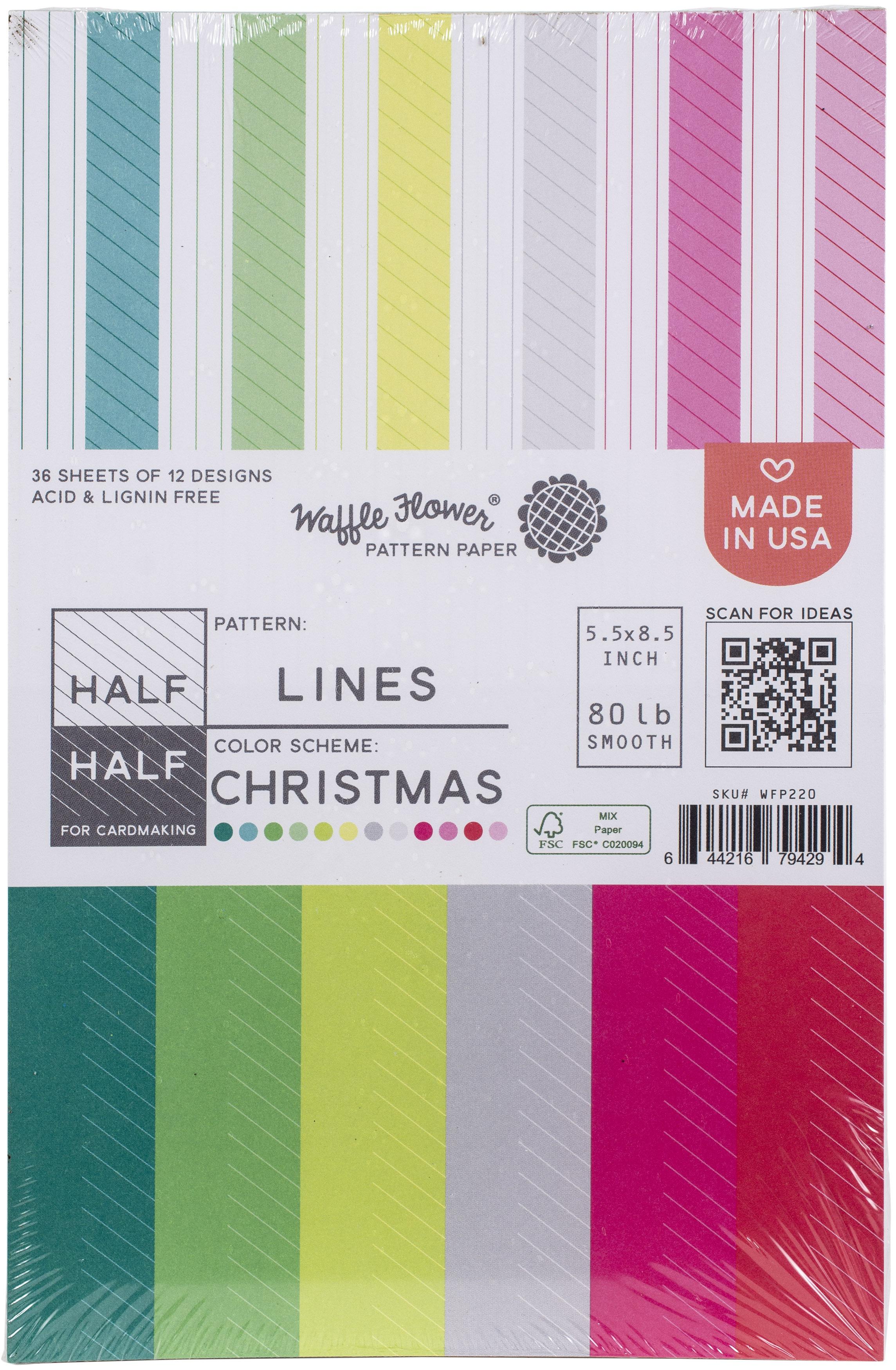Waffle Flower 80lb Single-Sided Paper Pad 5.5X8.5 36/Pkg-Half Lines/Christmas,...