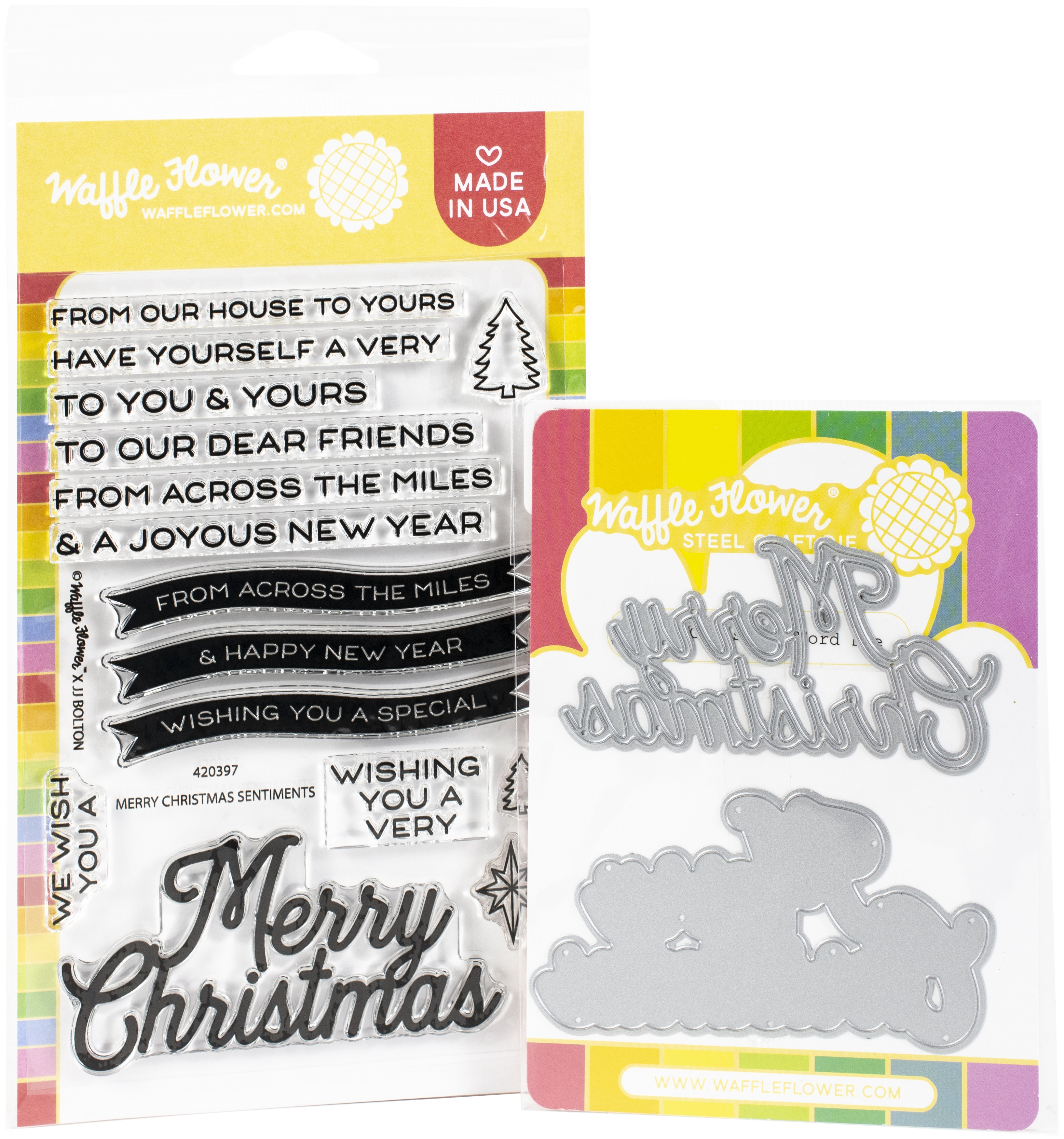 Waffle Flower - Merry Christmas Stamp/Die Set