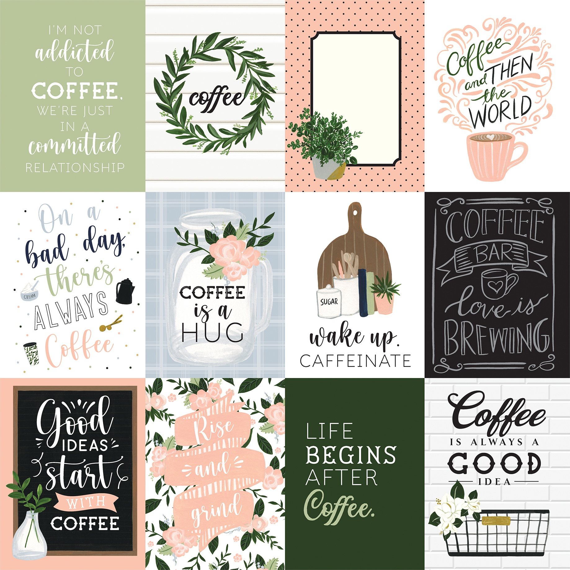 Coffee & Friends Double-Sided Cardstock 12X12-3X4 Journaling Cards