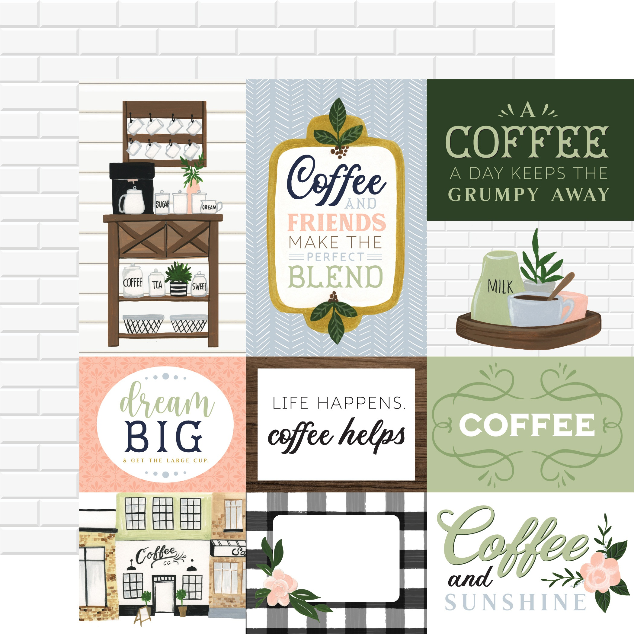 Coffee & Friends Double-Sided Cardstock 12X12-Journaling Cards